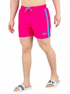 85940ed1d2 This pair of sunblast pink swim shorts from Superdry will ensure you turn  heads at any summer party this year. The electric blue accents contrast  with the ...