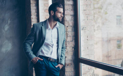 Success,Concept.,Stylish,Young,Bearded,Man,Is,Standing,Near,The