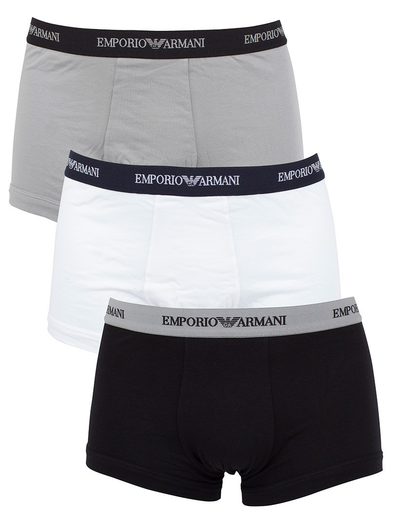 Emporio Armani 3 Pack Stretch Cotton Trunks - White/Black/Grey