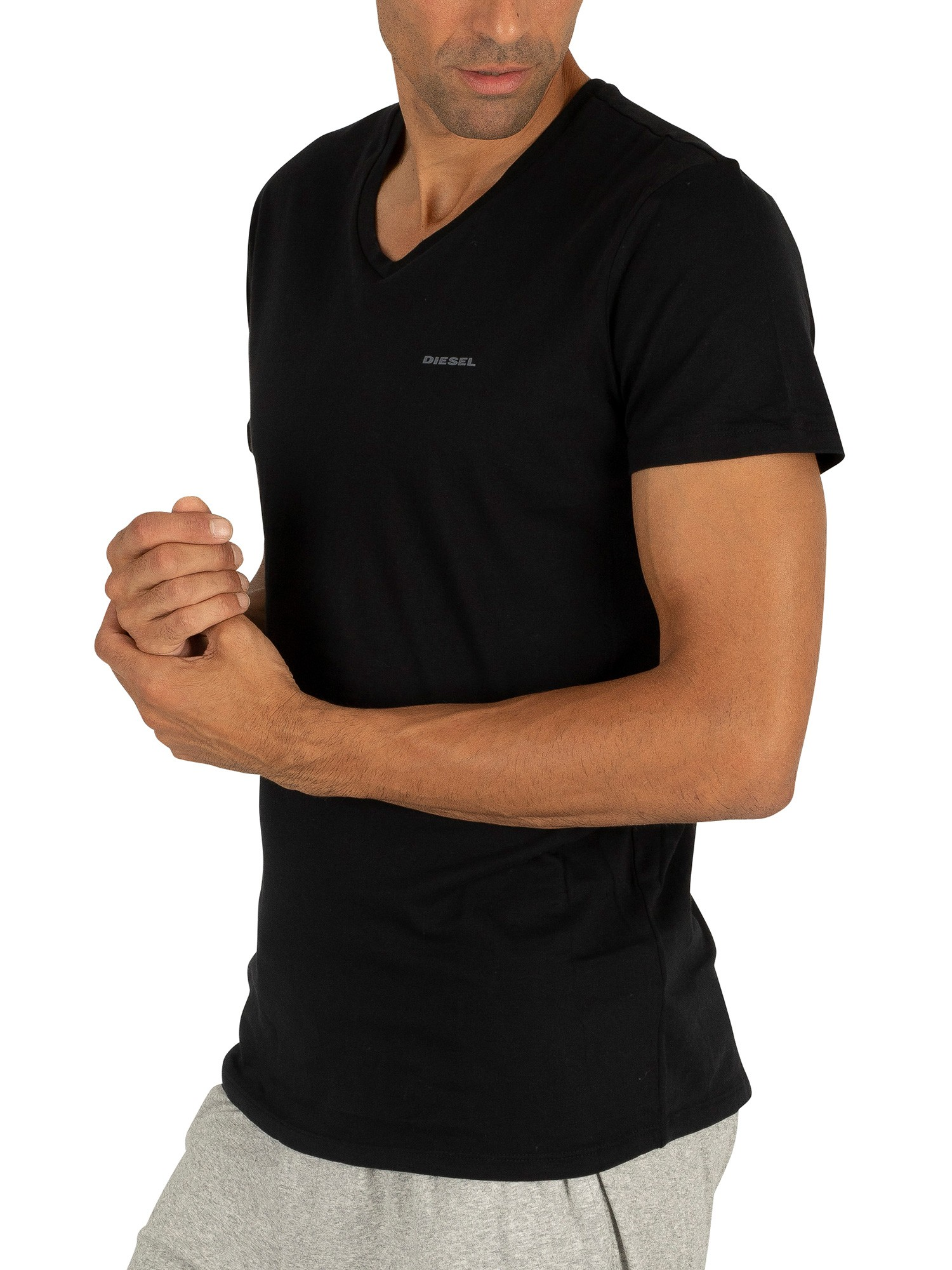 Diesel 3 Pack Jake Plain Logo V-Neck T-Shirts - Black ...