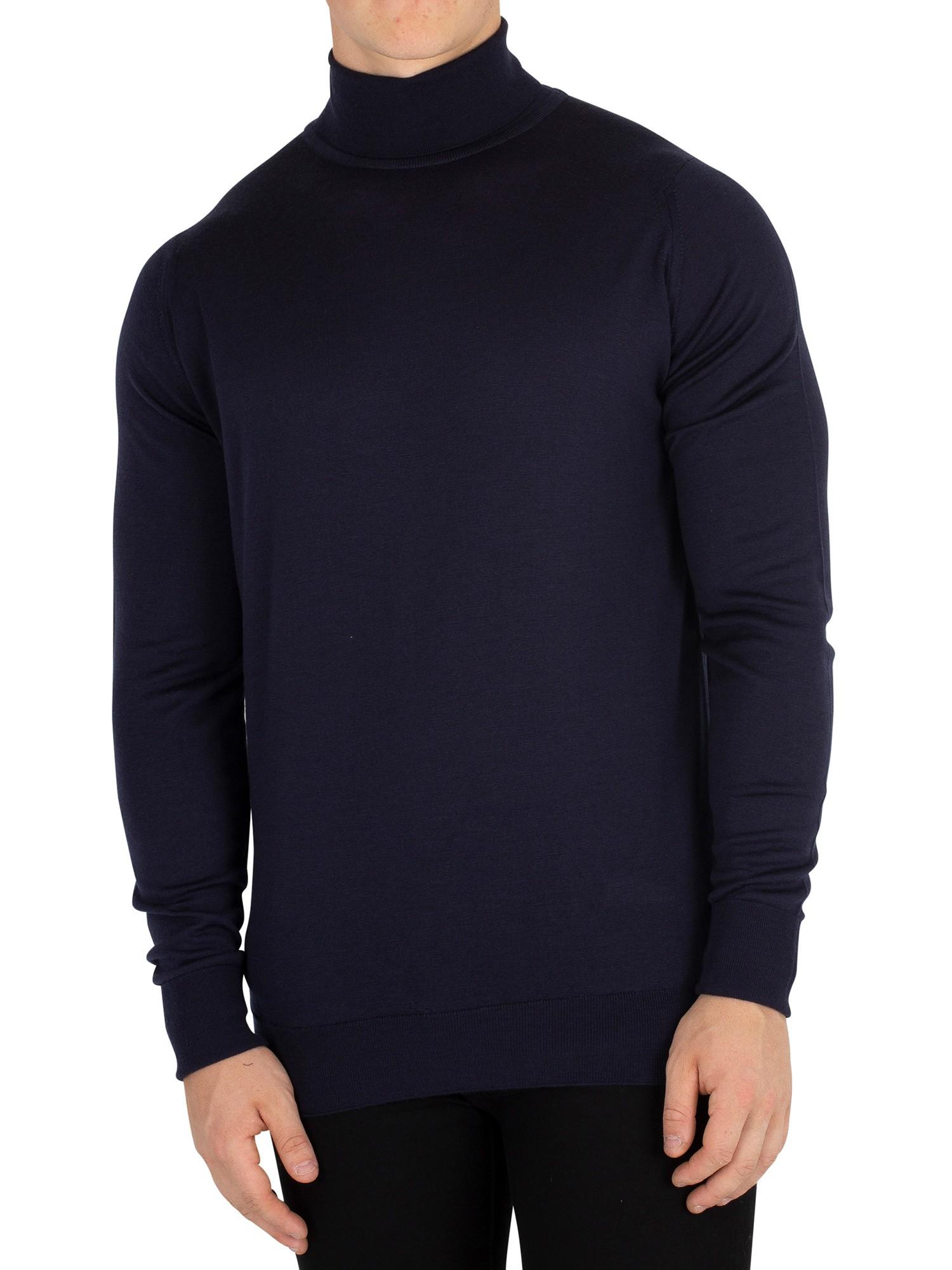 Grey John Smedley Men/'s Richards Roll Neck Knit