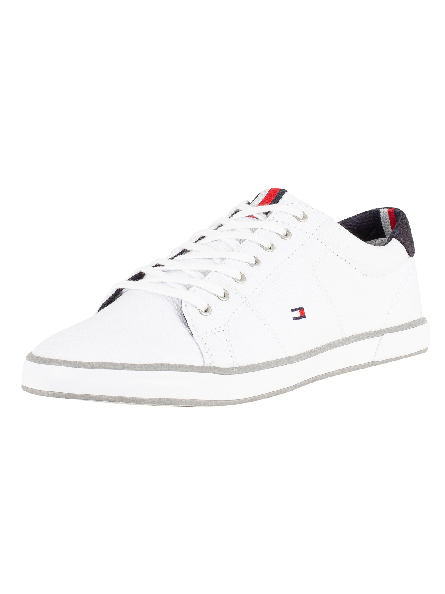 Details about Tommy Hilfiger Men's Flag Trainers, White