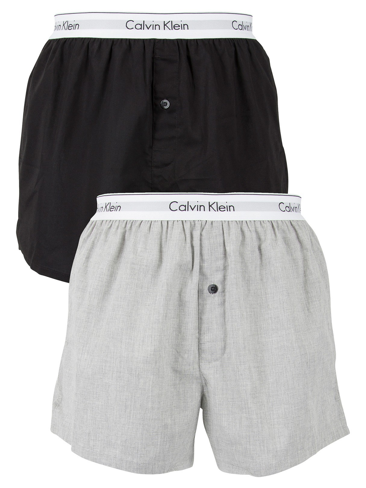 Calvin Klein 2 Pack Logo Slim Fit Woven Boxers - Black/Grey Heather