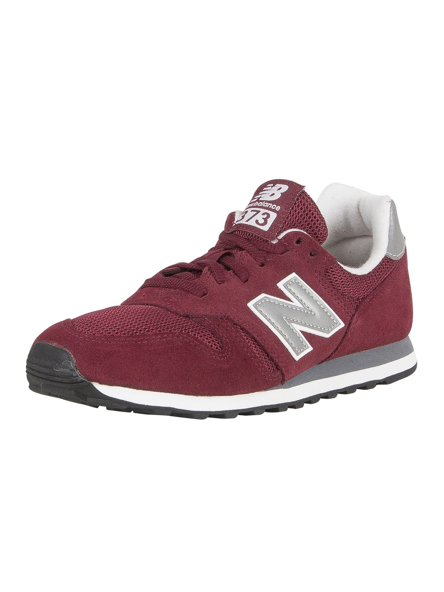 online store 0b4d6 65c5e New Balance 373 Suede Trainers - Burgundy/Silver