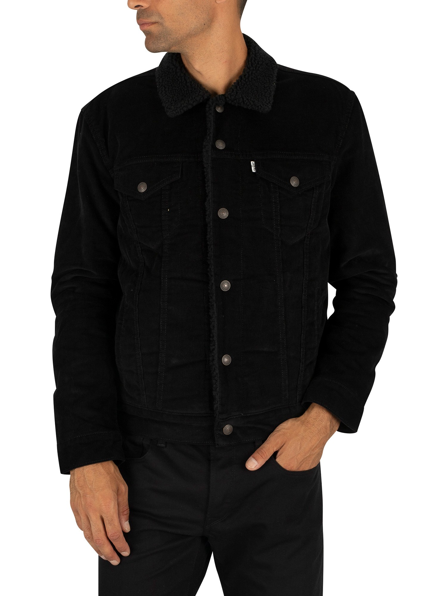 look for sale usa online classic style Levi's Type 3 Sherpa Trucker Jacket - Black Cord Better
