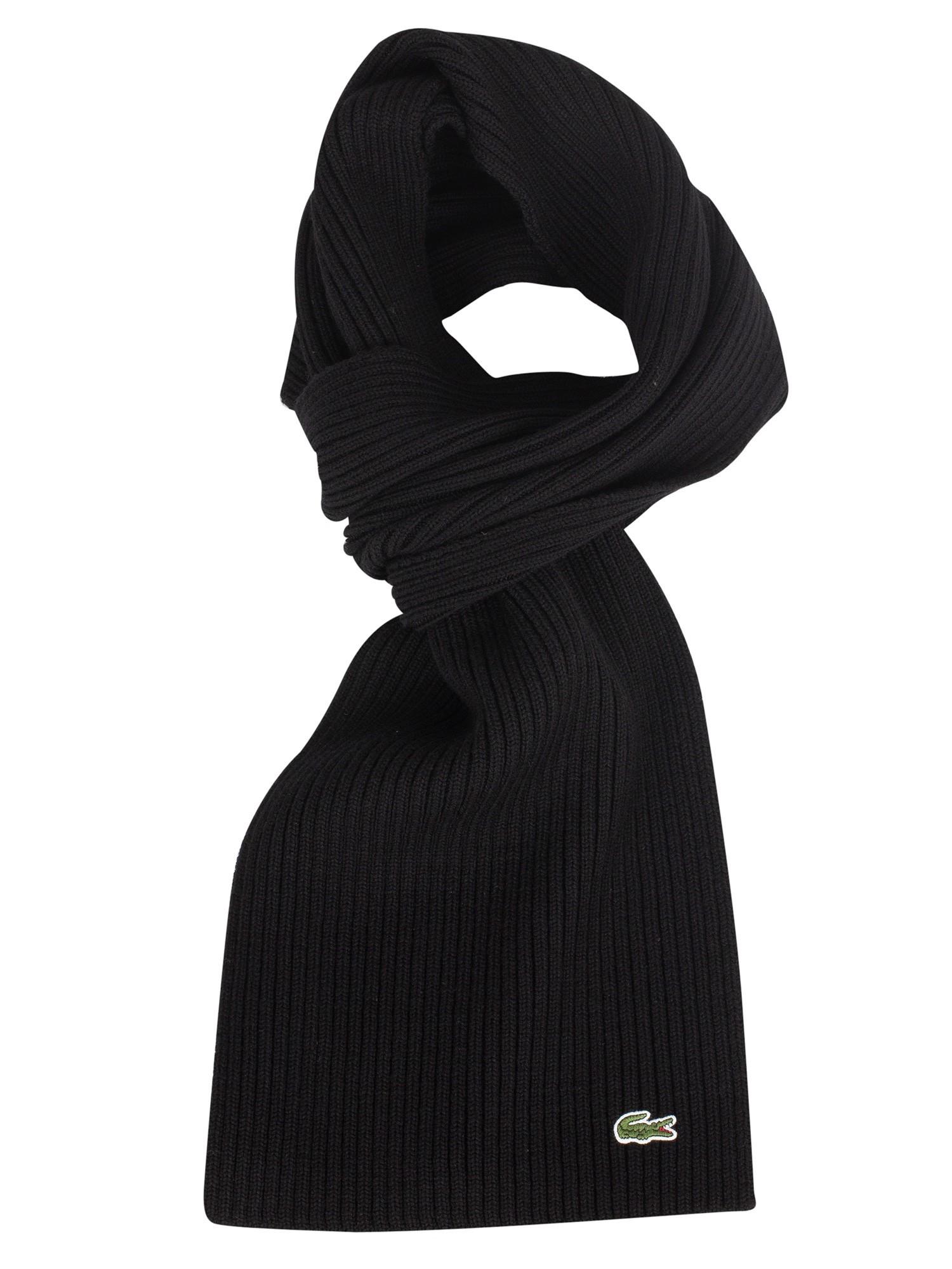 Lacoste Ribbed Logo Scarf - Black