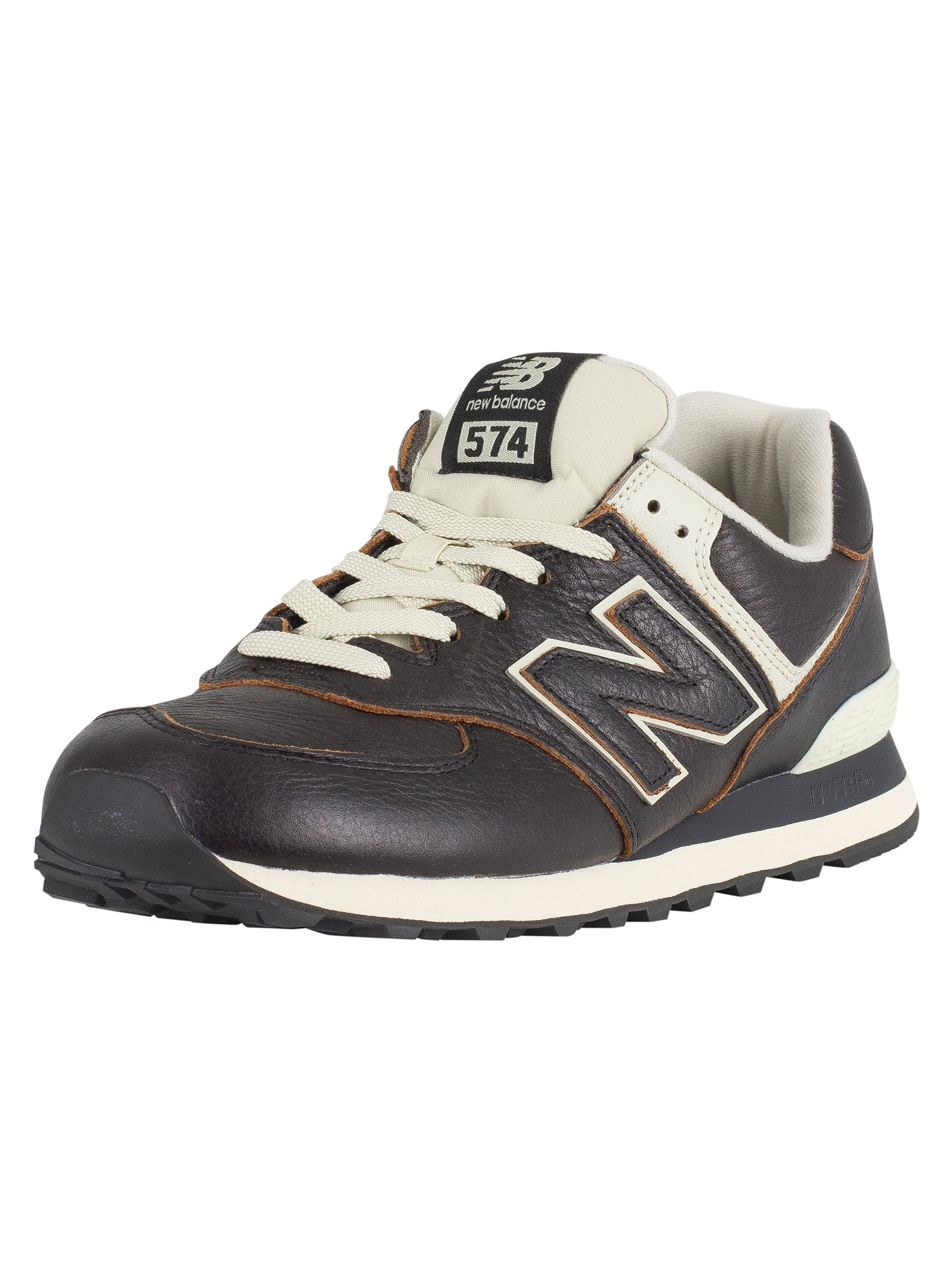 size 40 5307f 6ef77 New Balance 574 Leather Trainers - Black/White Munsell