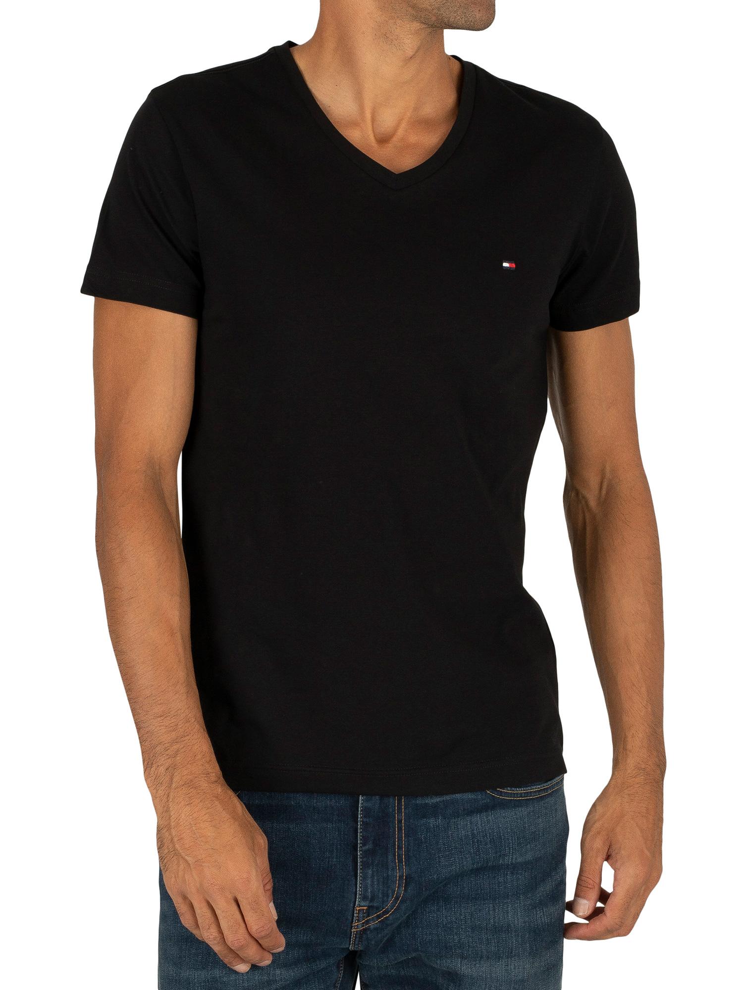 Tommy Hilfiger Herren Pullover V-Neck  gerader Schnitt Schwarz Premium Cotton