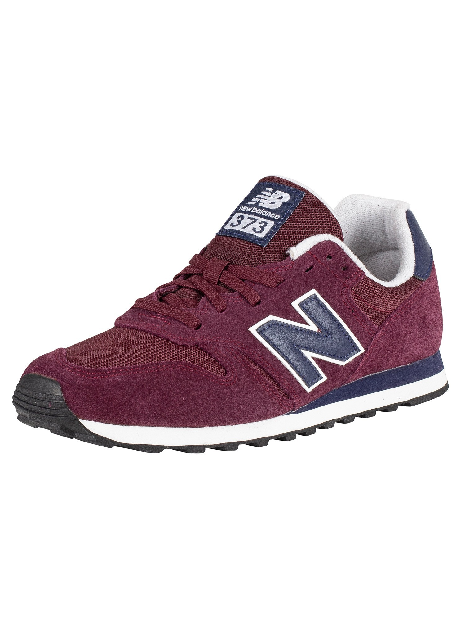 newest 49b01 897ee New Balance 373 Suede Trainers - Burgundy/Navy