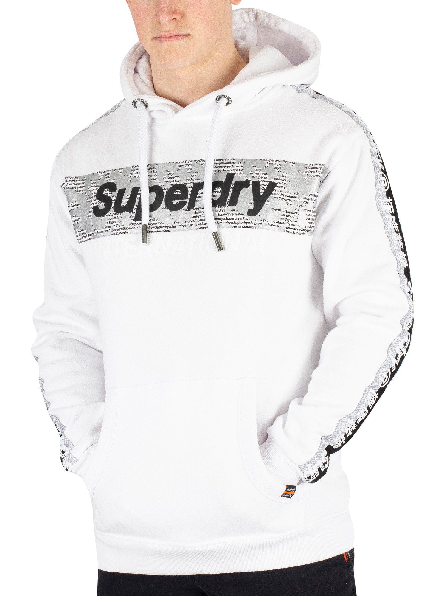 Superdry International Monochrome Pullover Hoodie Optic