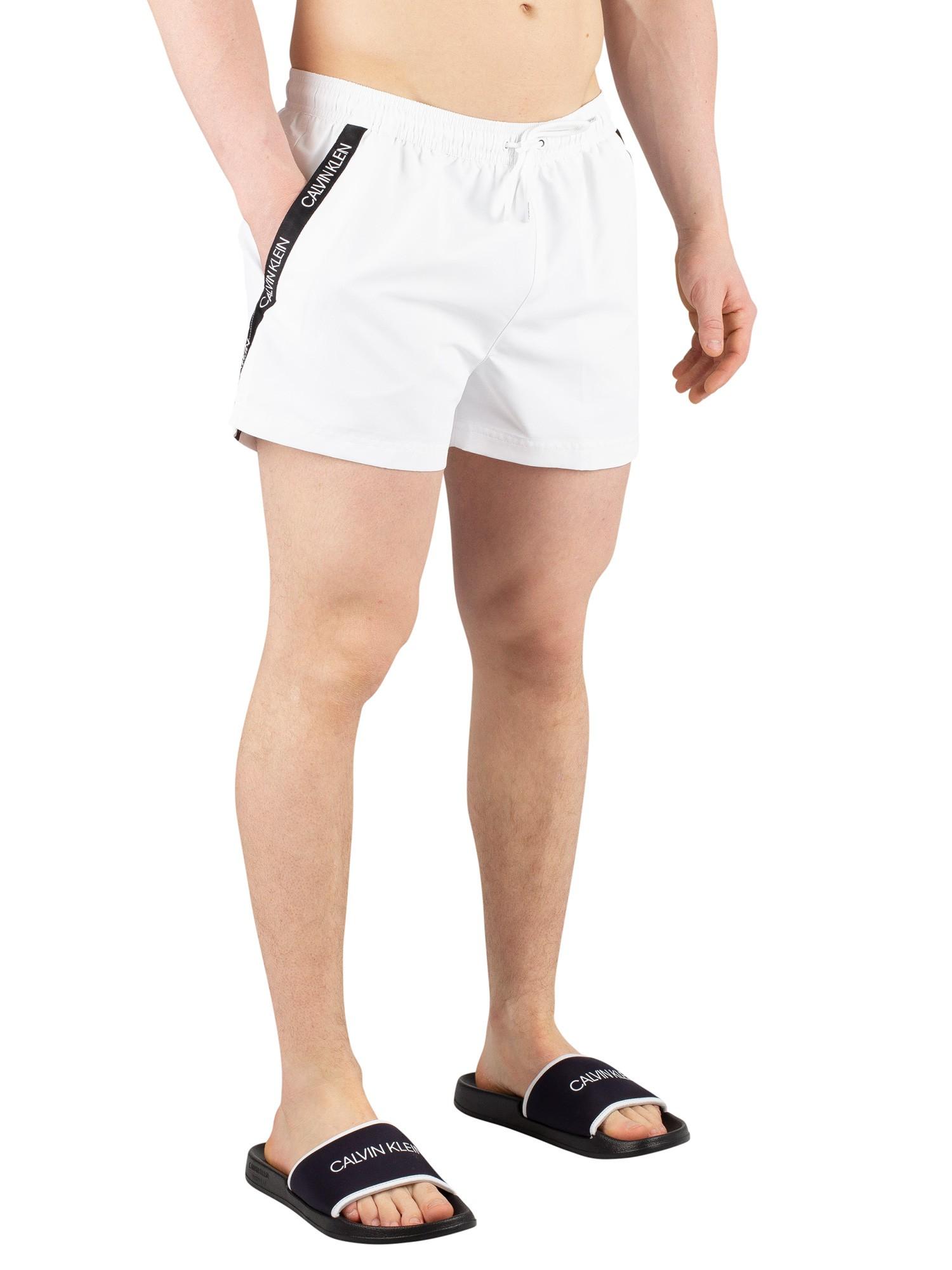online store 9fd65 8ee30 Calvin Klein Short Drawstring Swim Shorts - White