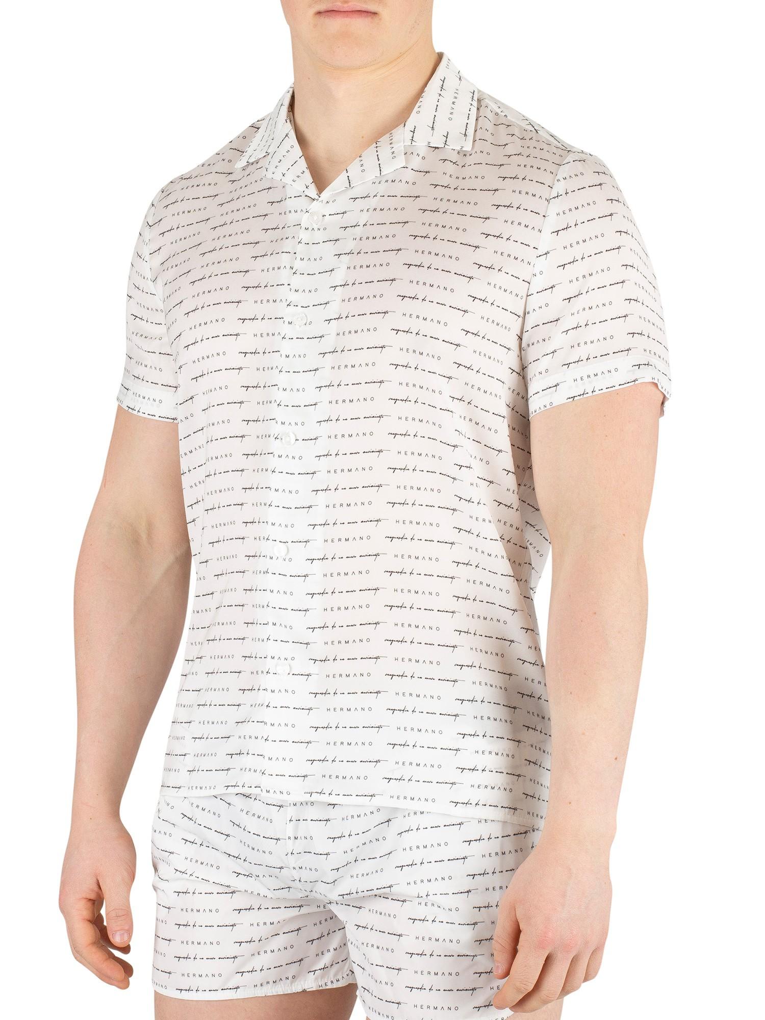 Hermano Mens Crocodile Print Cuban Shortsleeved Shirt White