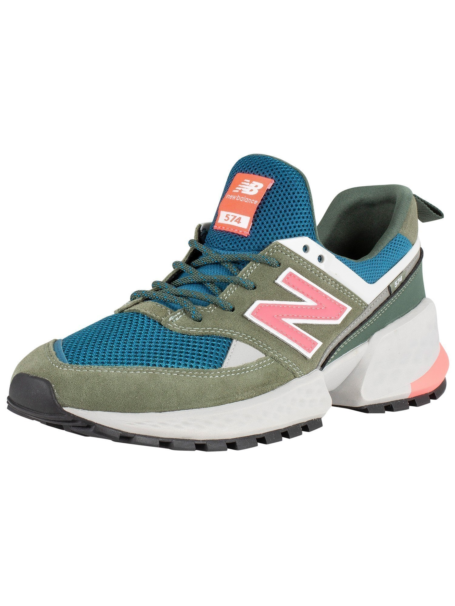 cheap for discount a4580 7454f New Balance 574 Sport Trainers - Green/Blue/Pink
