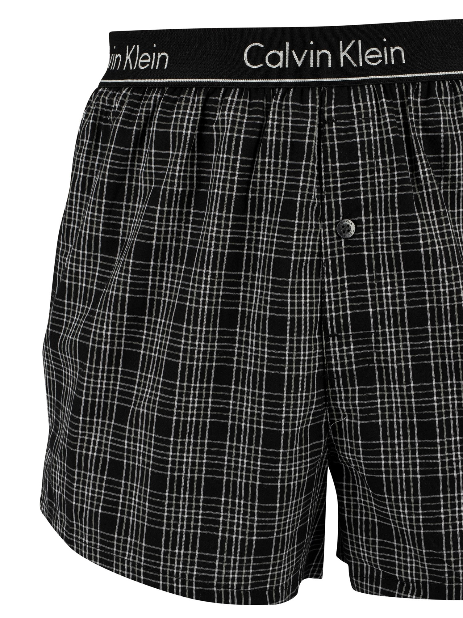 Calvin Klein 2 Pack Slim Fit Low Rise Woven Boxers - Breslin Plaid Black