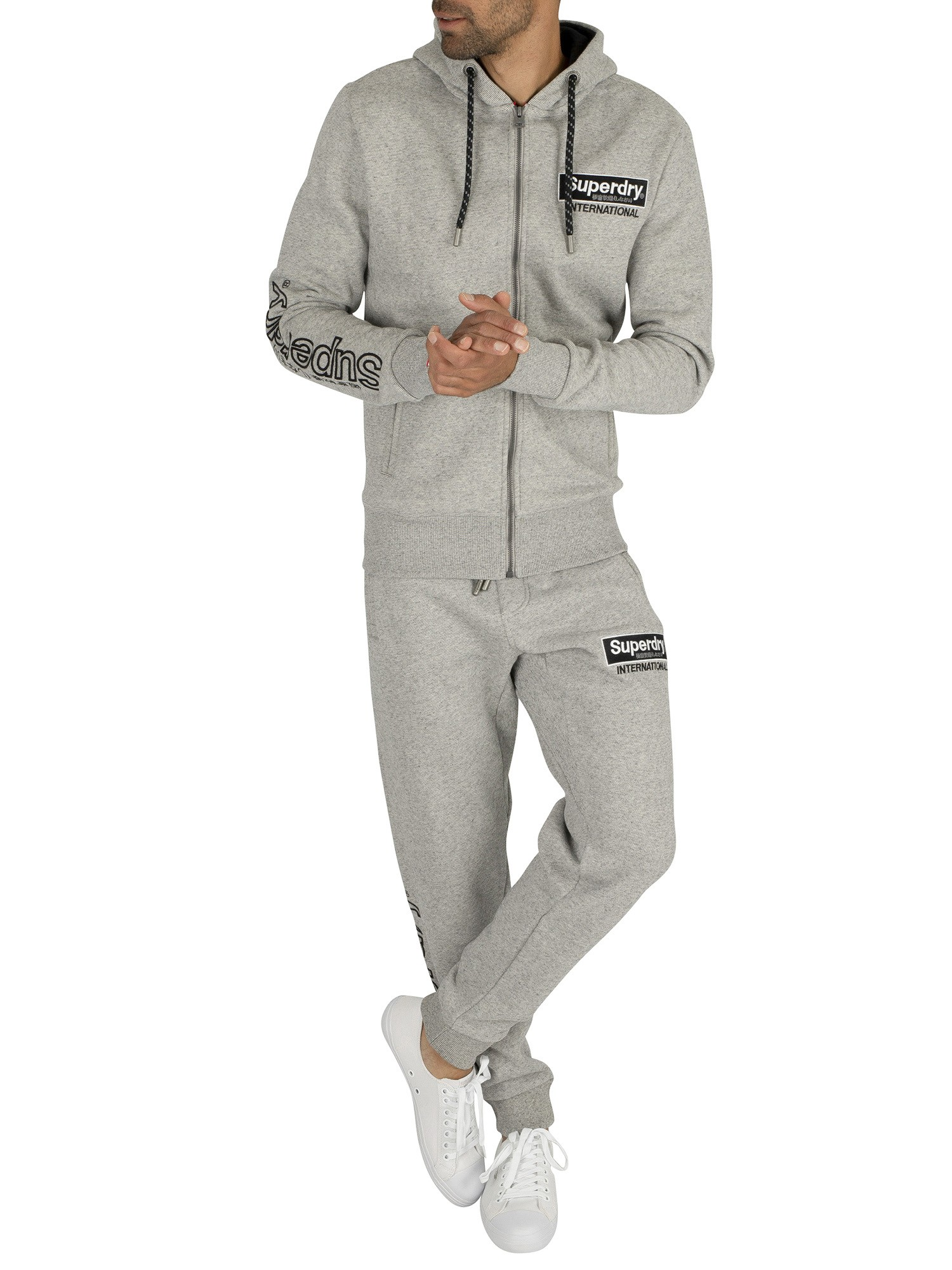 Superdry International Applique Zip Hoodie - Silver Glass Feeder