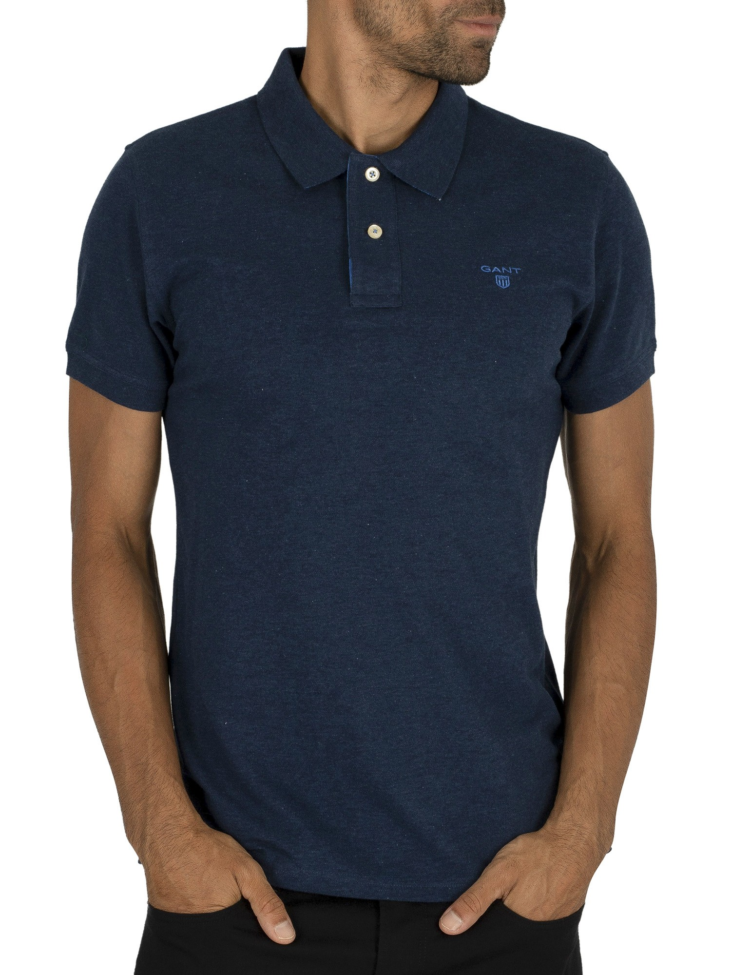 Blue Gant Men/'s Contrast Collar Logo Polo Shirt