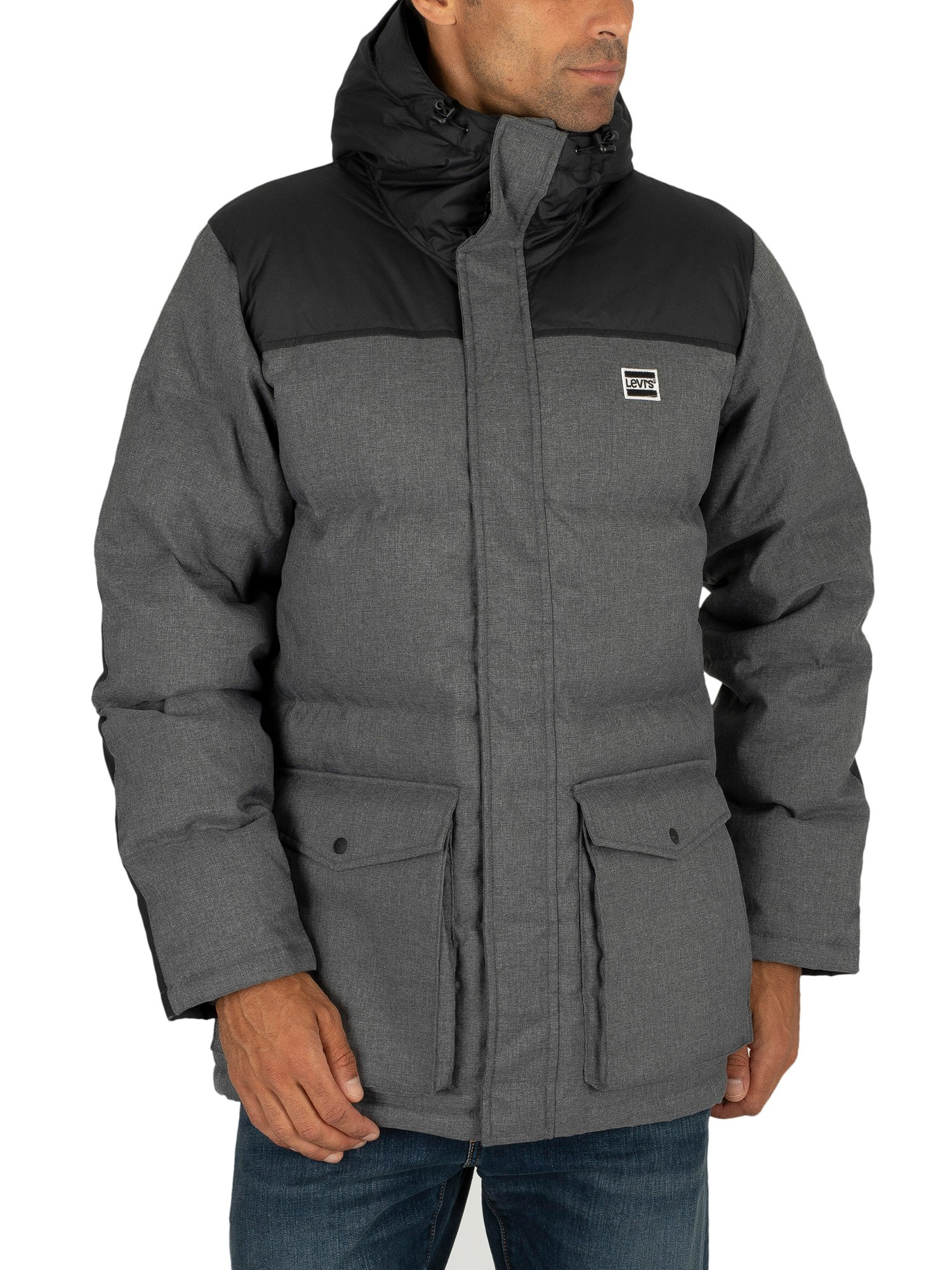 Levi's Down Puffer Parka Jacket - Dark Heather Grey