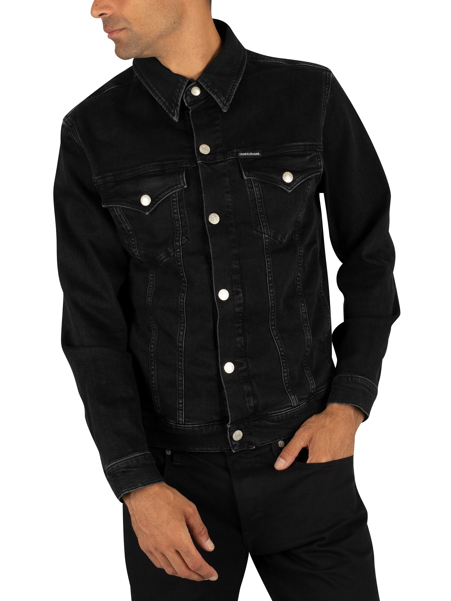 top-rated latest official site to buy Details about Calvin Klein Jeans Men's Foundation Slim Denim Jacket, Black