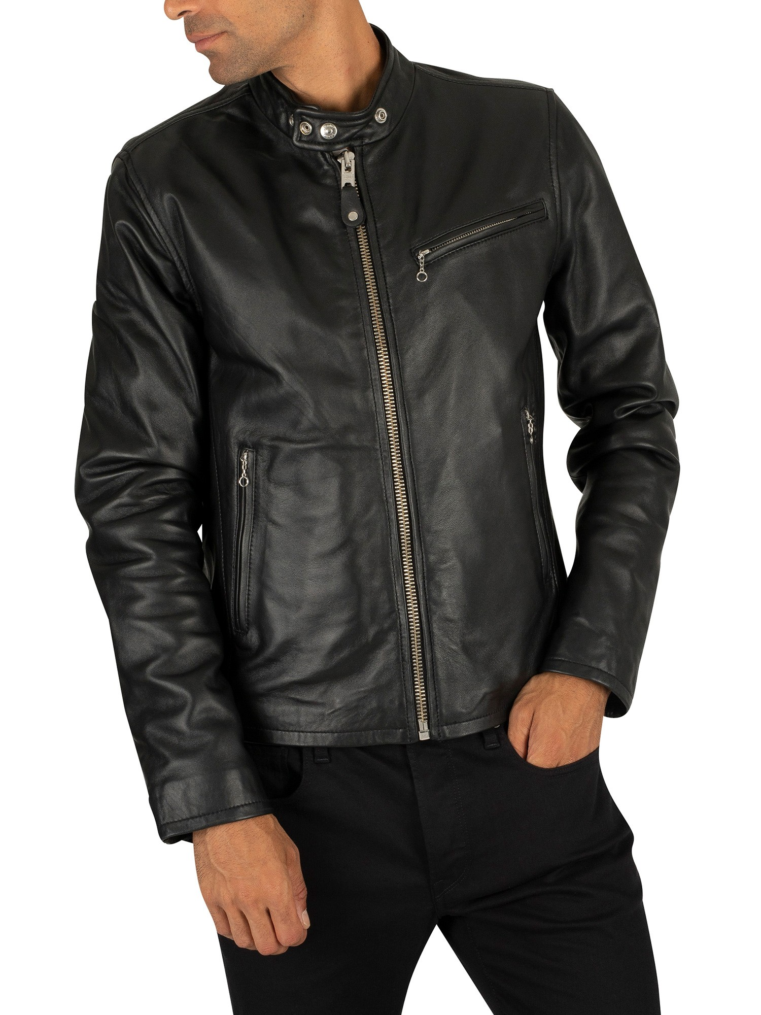 Schott Leather Jacket Black Standout
