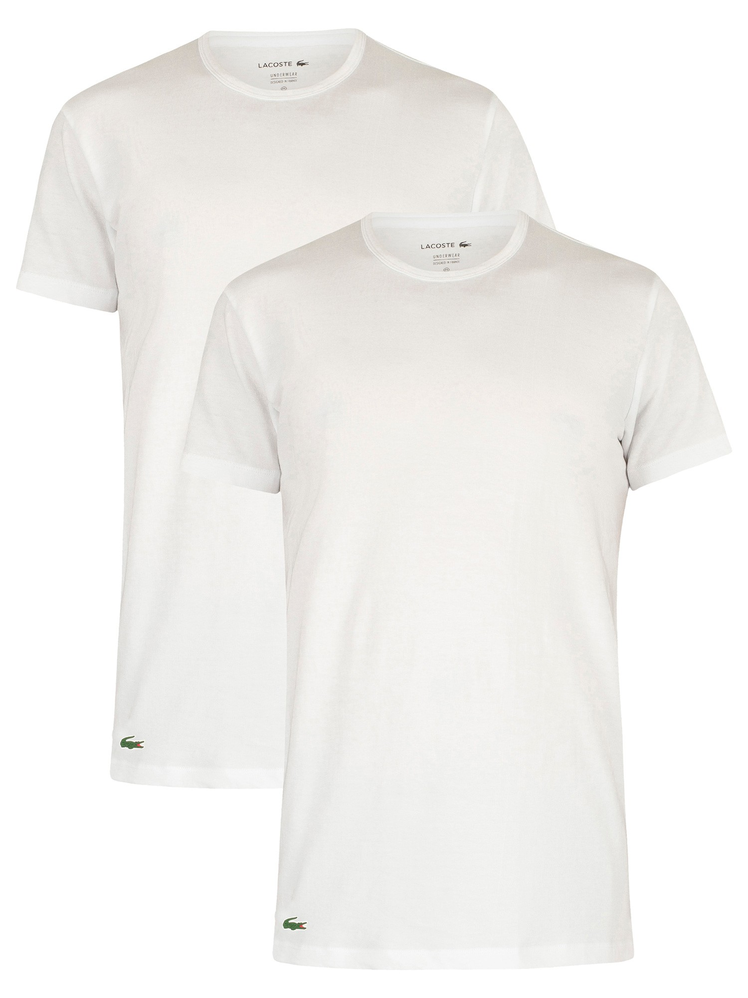 wie man bestellt Ausverkauf echte Schuhe Lacoste 2 Pack Crew Lounge T-Shirt - White