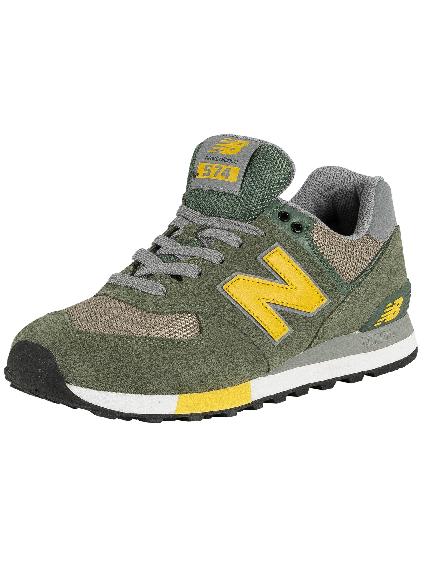 buy online 35634 8aaf3 New Balance 574 Suede Trainers - Slate Green/Earth