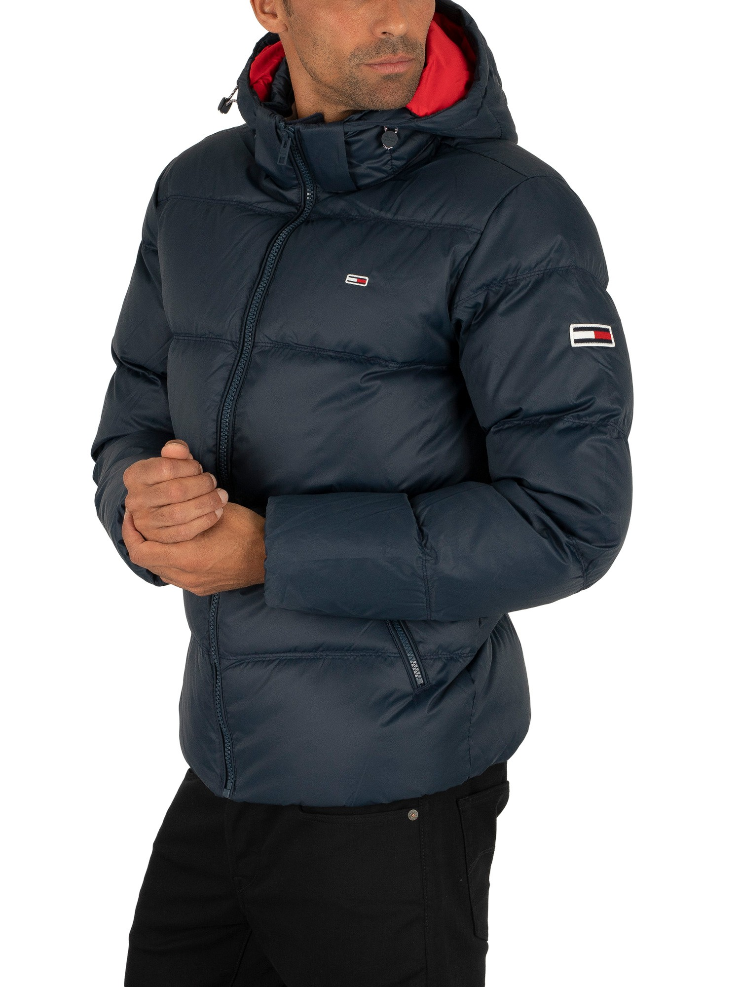outstanding features limited sale lovely luster Tommy Jeans Essential Down Puffer Jacket - Black Iris Navy
