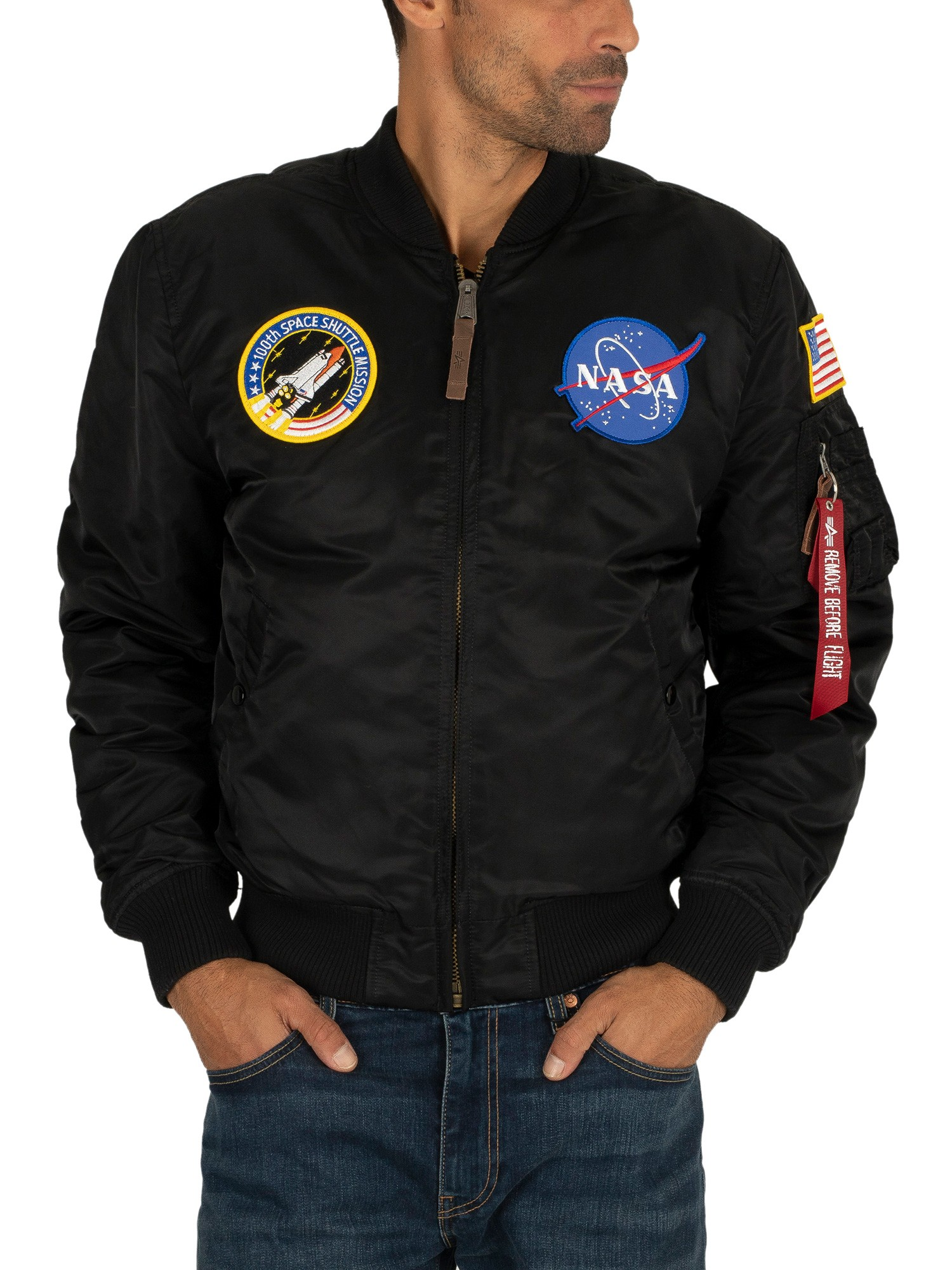 sports shoes c2d04 db5a7 Alpha Industries NASA Bomber Jacket - Black