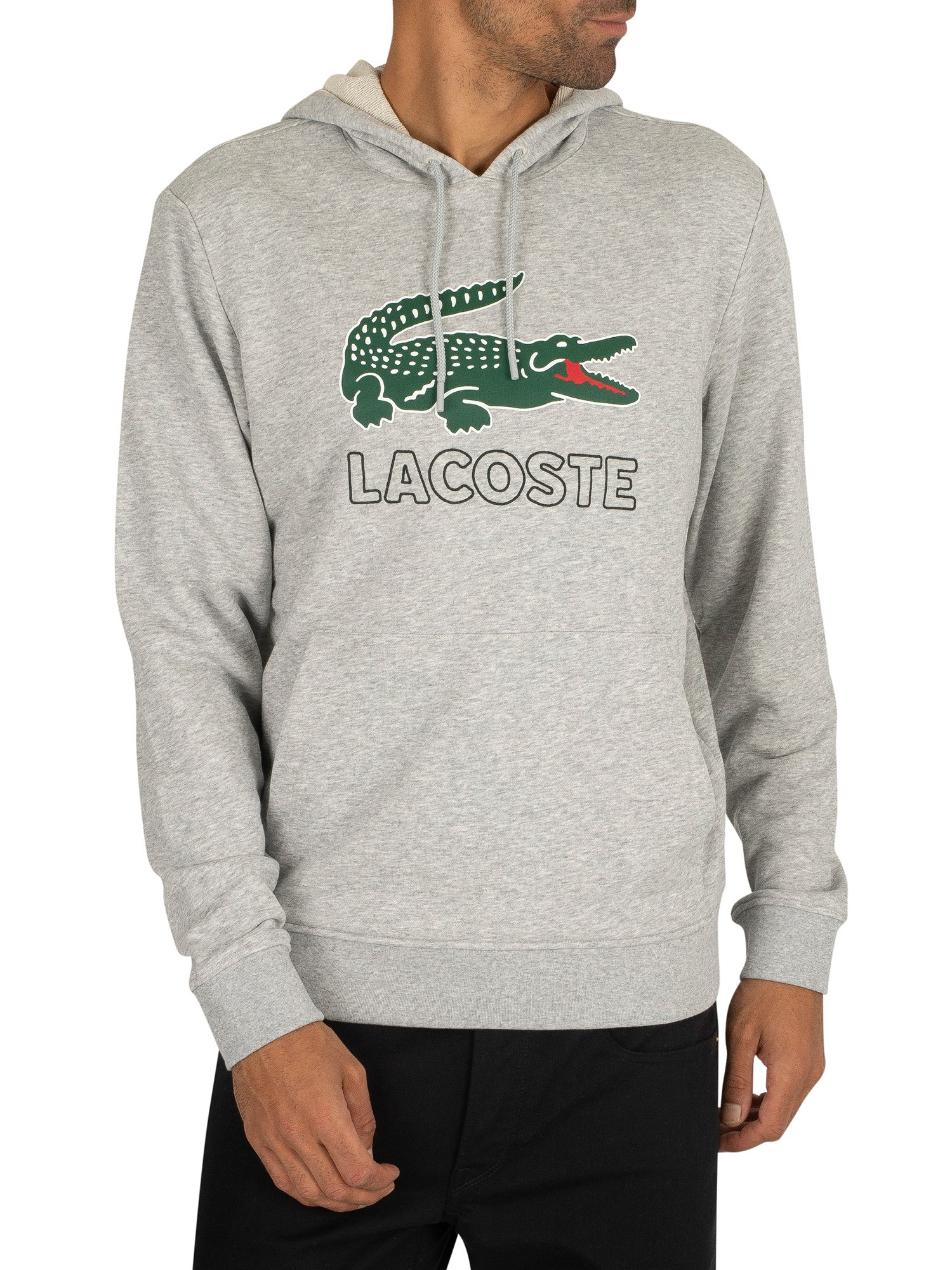 Lacoste Graphic Pullover Hoodie - Light Grey