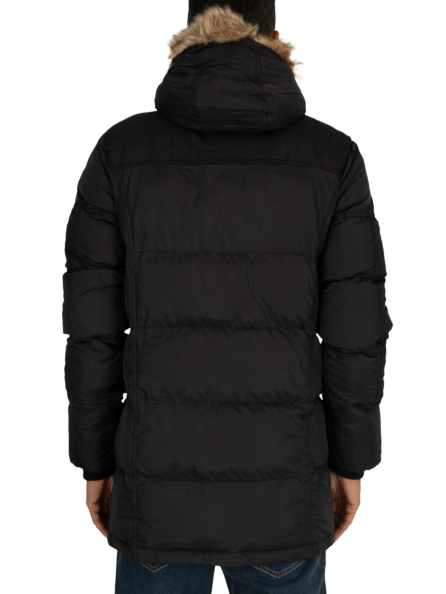 4Bidden Men/'s Tornado Fur Parka Jacket Black