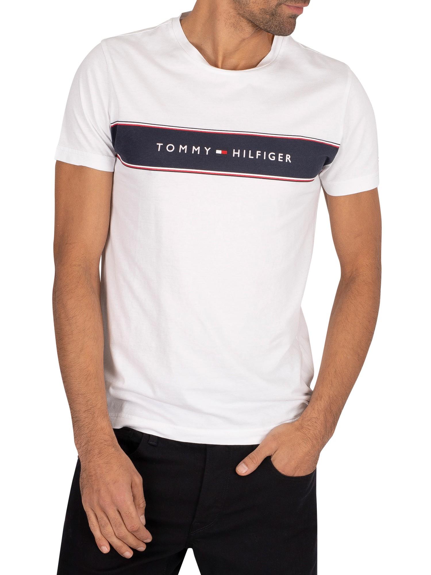 Dettagli su Tommy Hilfiger Uomo T Shirt a righe petto lungo, bianca