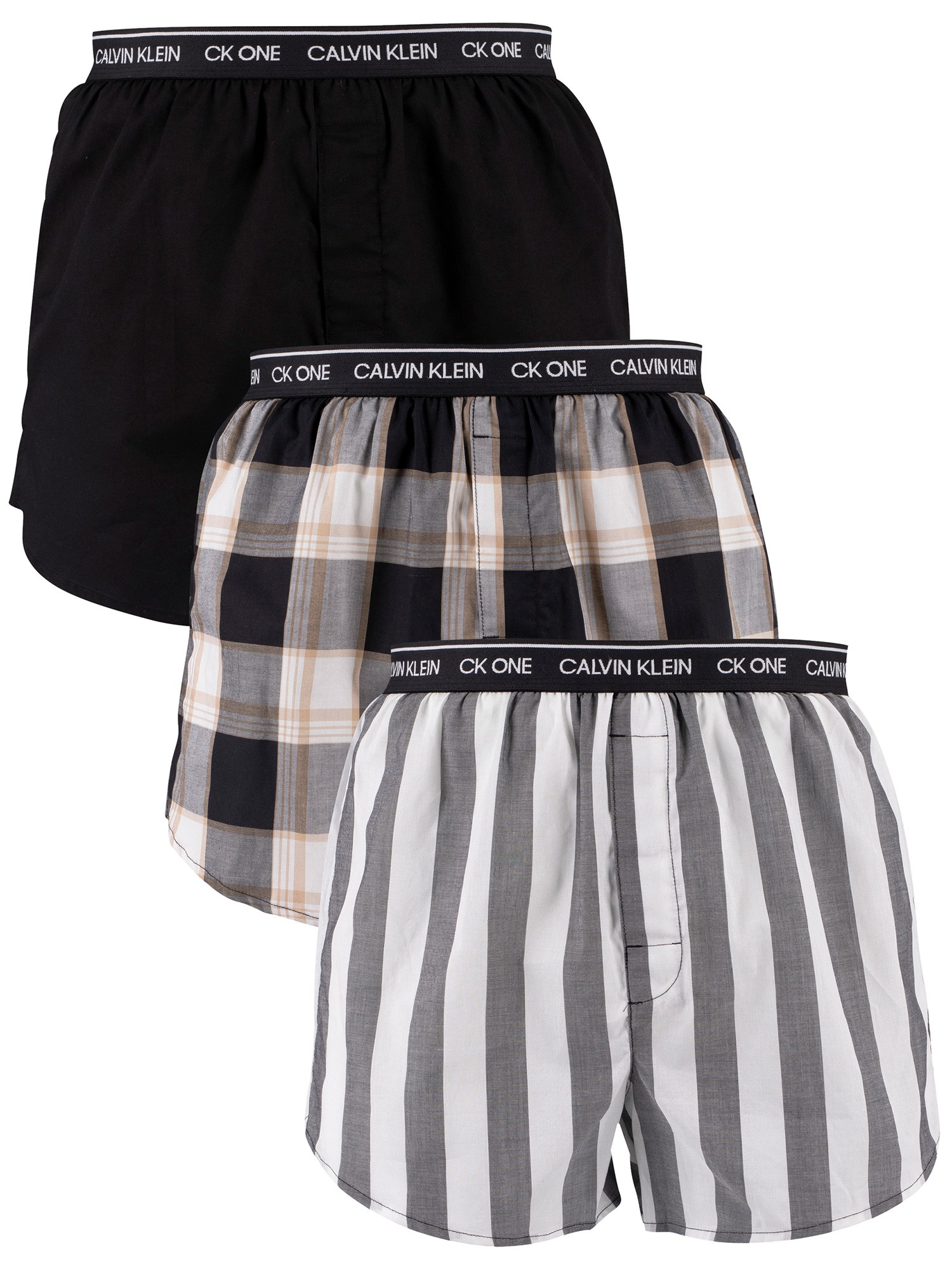 Calvin Klein 3 Pack Slim Fit Boxers - Level Stripe/Black/Field Plaid