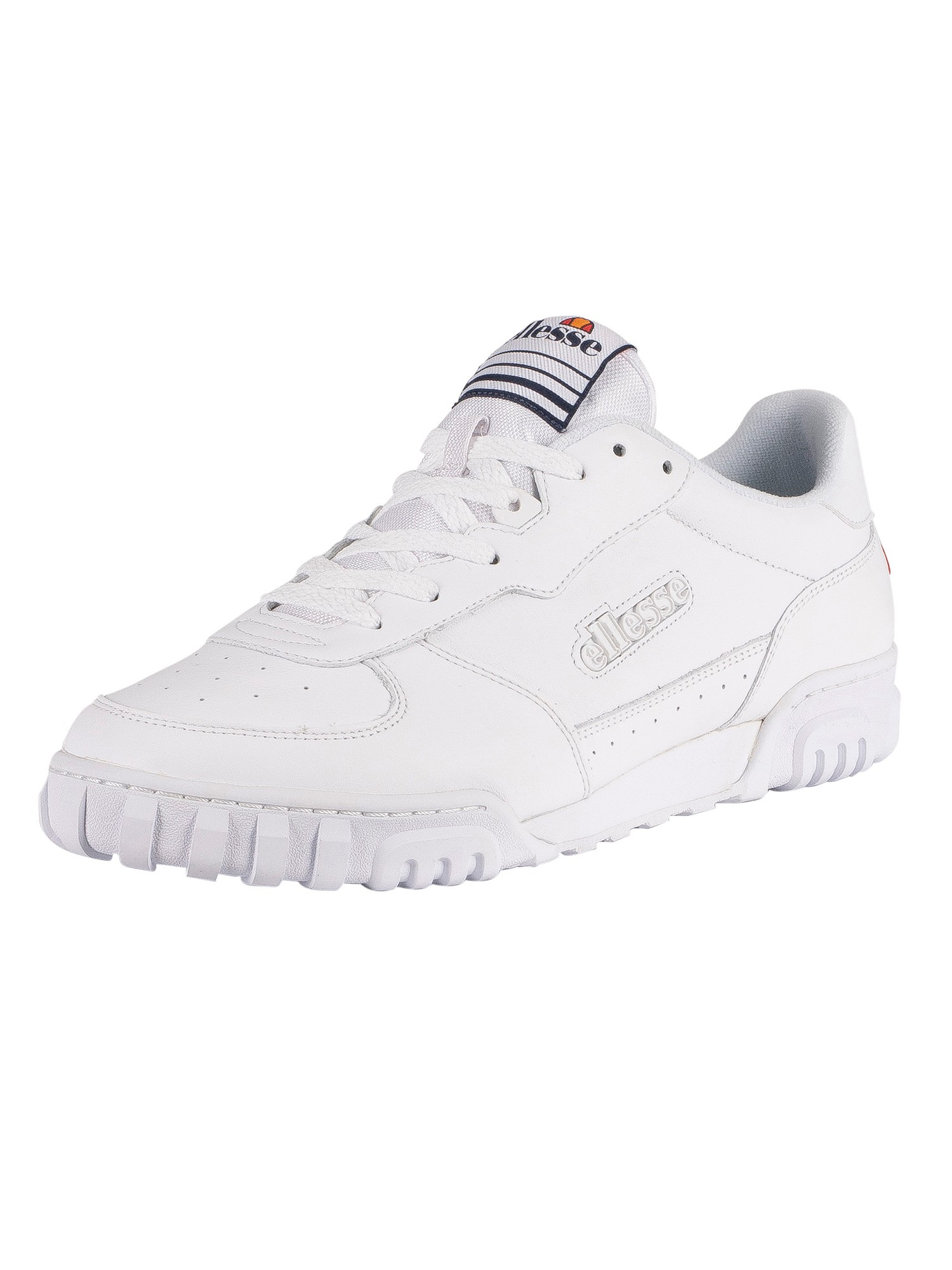 Ellesse Tanker Low Leather Trainers - White/White/Dark Blue