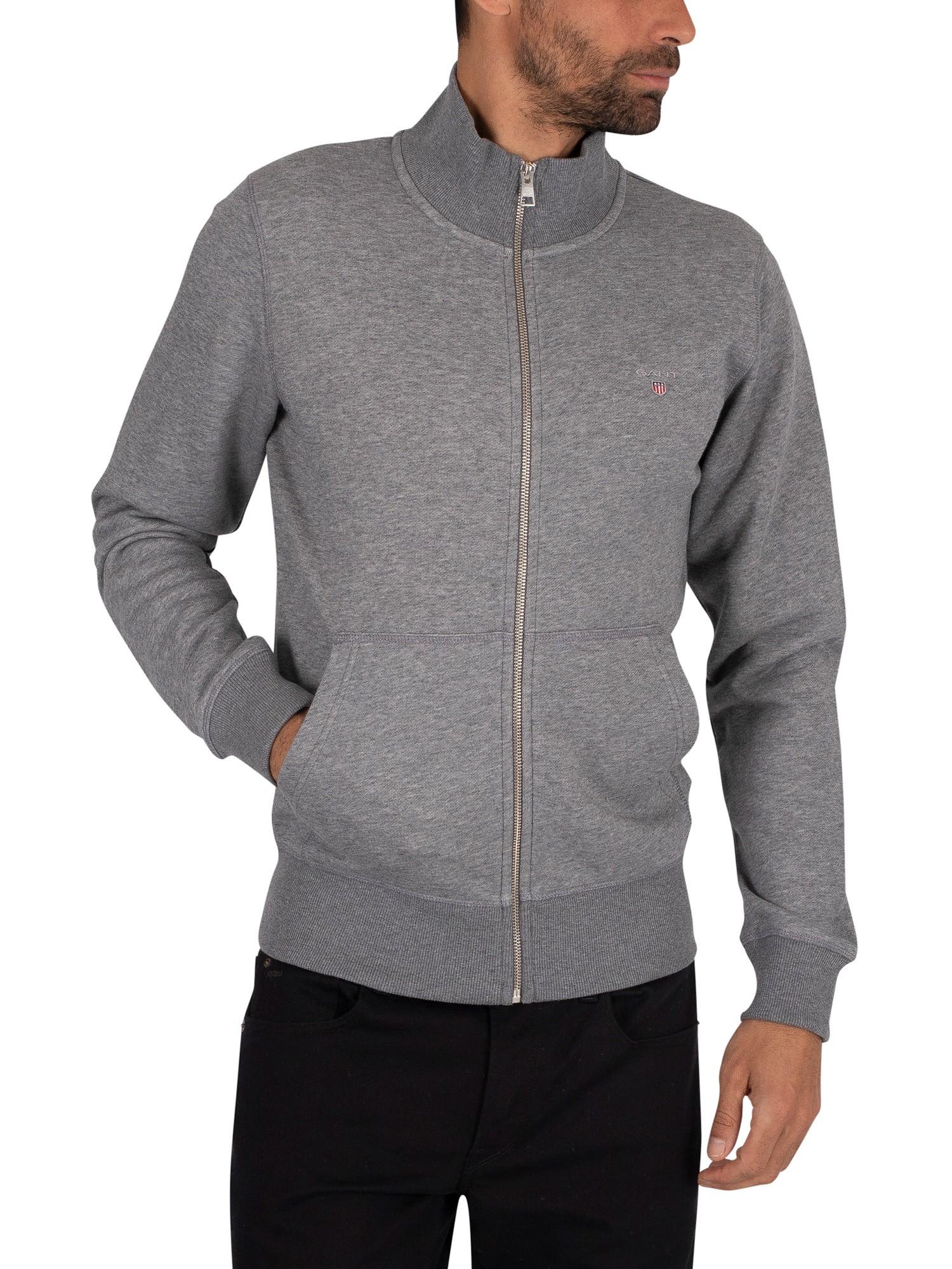 Details zu GANT Herren Original Zip Sweatshirt, Grau
