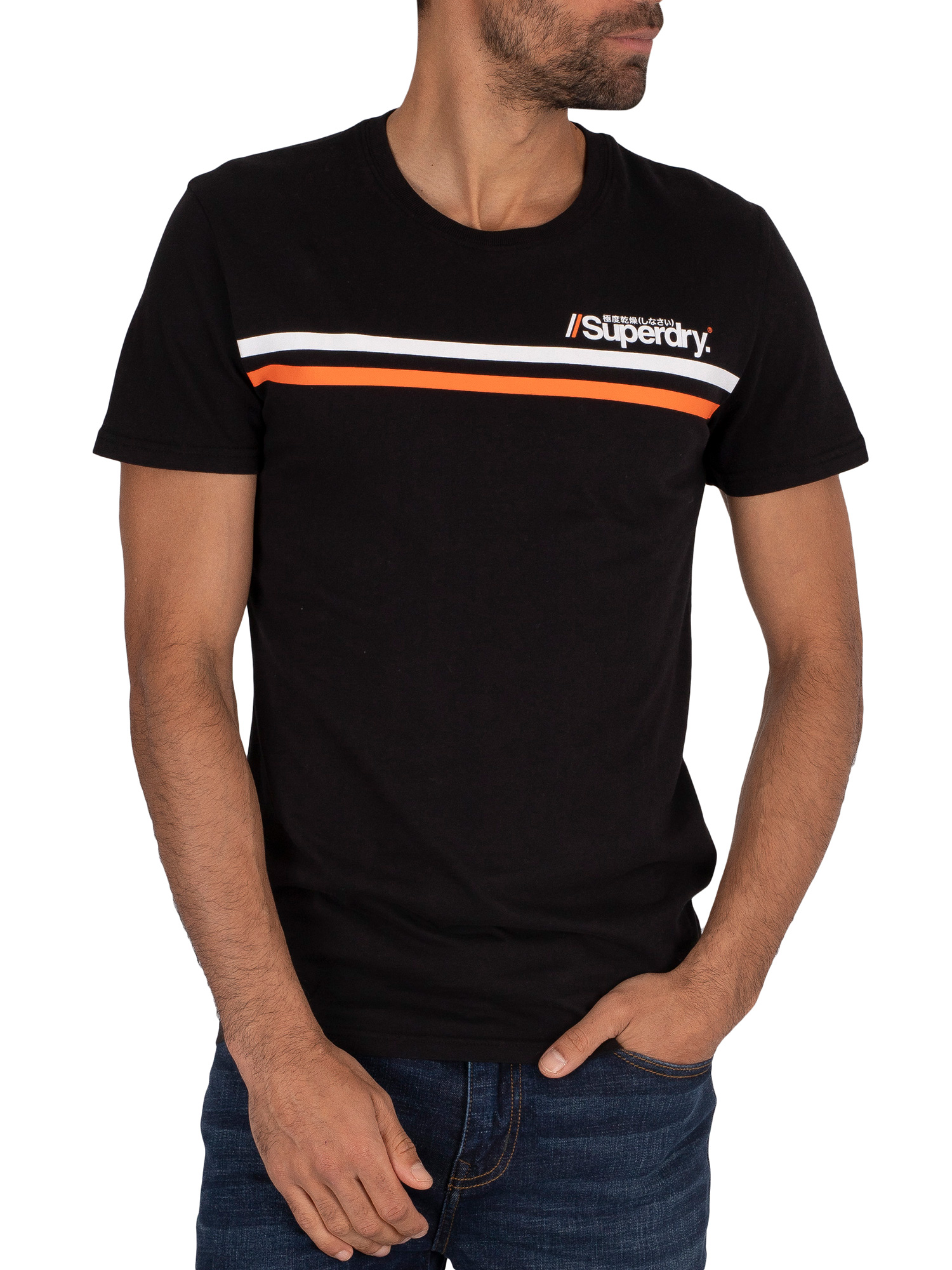 Superdry Core Logo Sport Stripe T-Shirt - Black