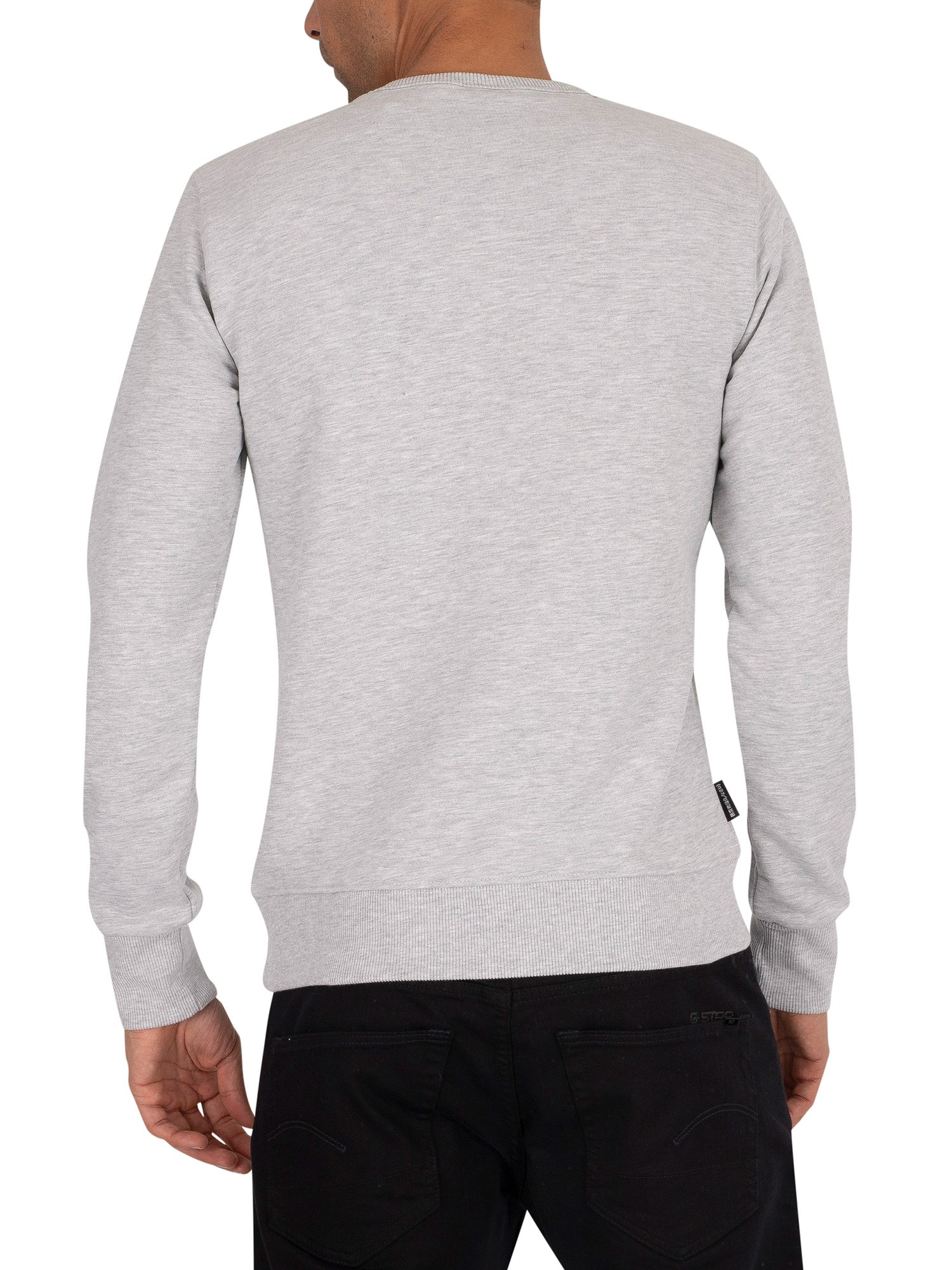 Superdry Core Logo Faux Suede Sweatshirt - Collective Light Marl