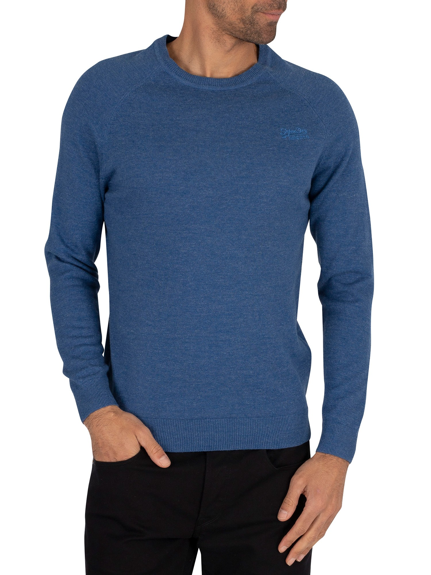 Superdry Orange Label Cotton Knit - Adriatic Blue Grindle