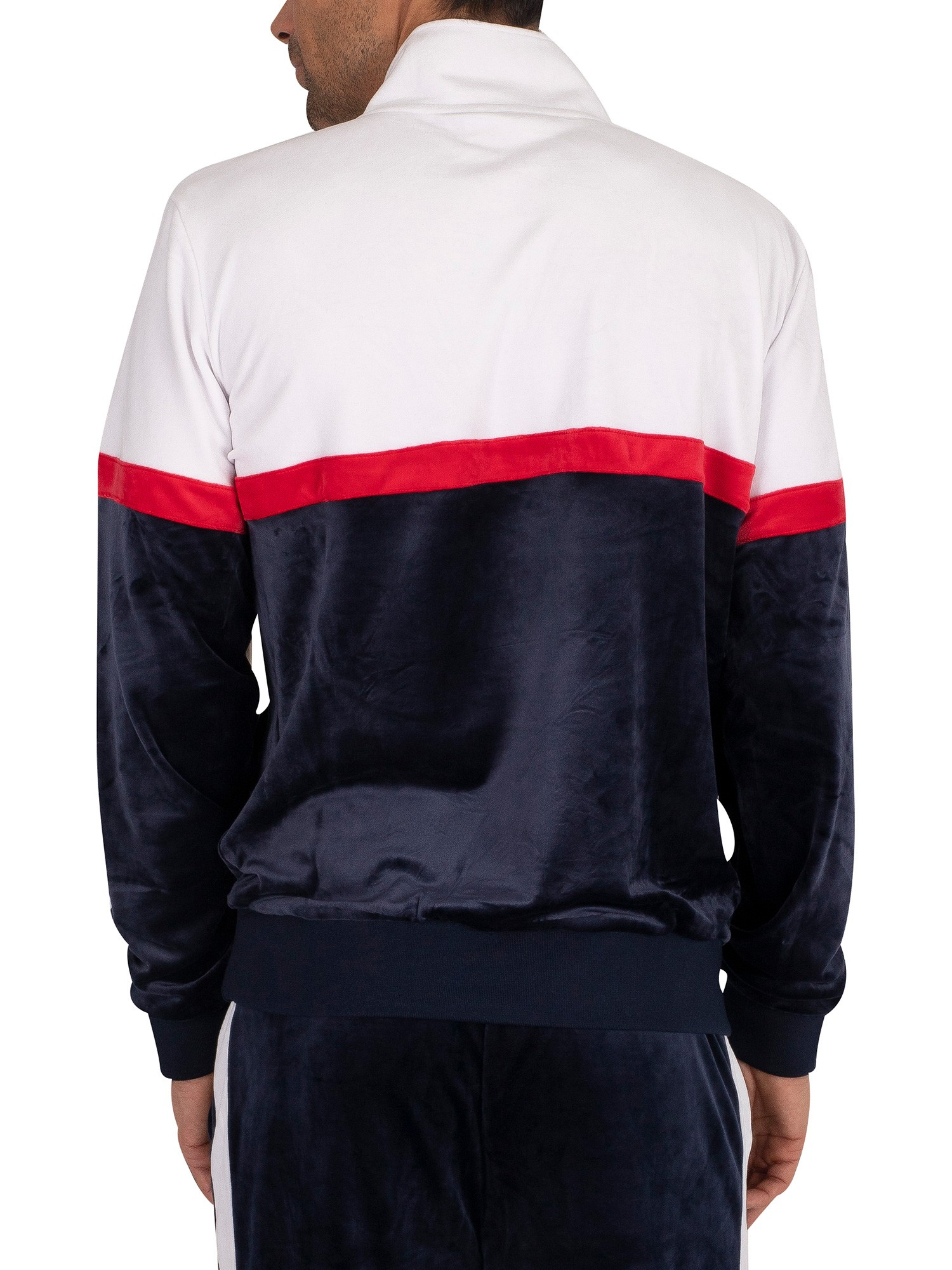 Fila Kane Velour 1/2 Zip Track Jacket - Peacoat/White/Red