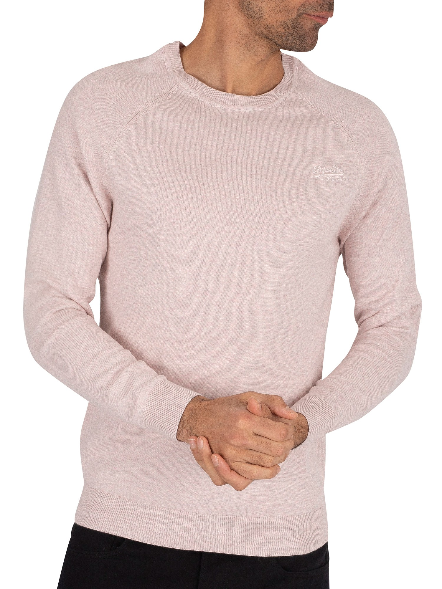 Superdry Orange Label Cotton Knit - Dusted Silver Pink Marl