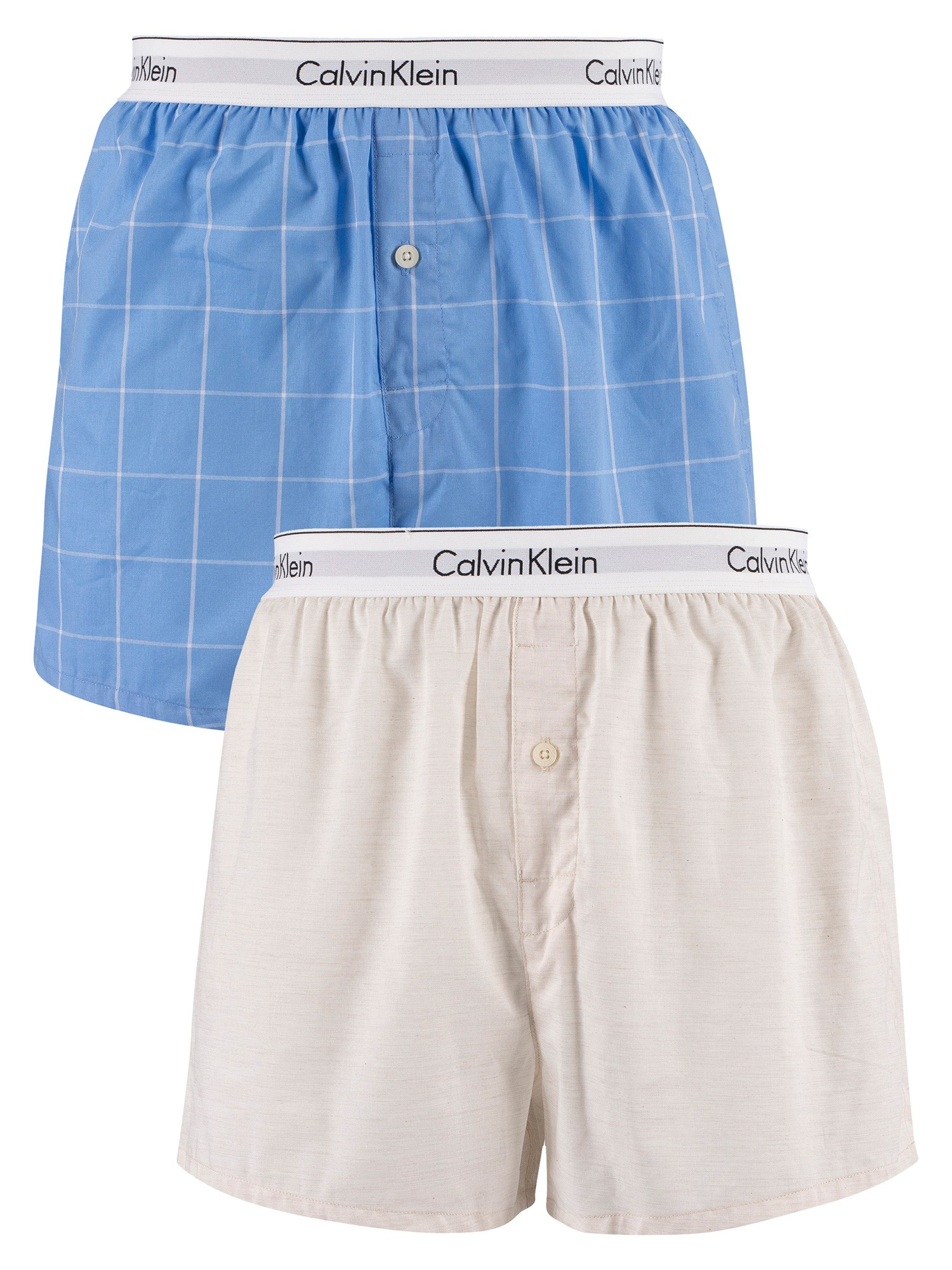 Calvin Klein 2 Slim Fit Woven Boxers - Oatmeal Heather / Modern Window