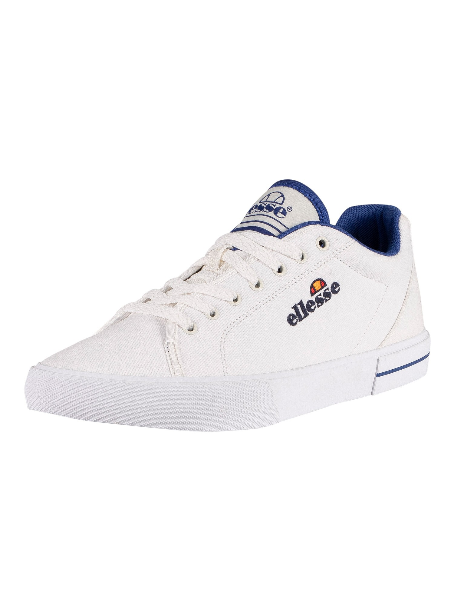 Ellesse Taggia Text Canvas Trainers - White/Dark Blue
