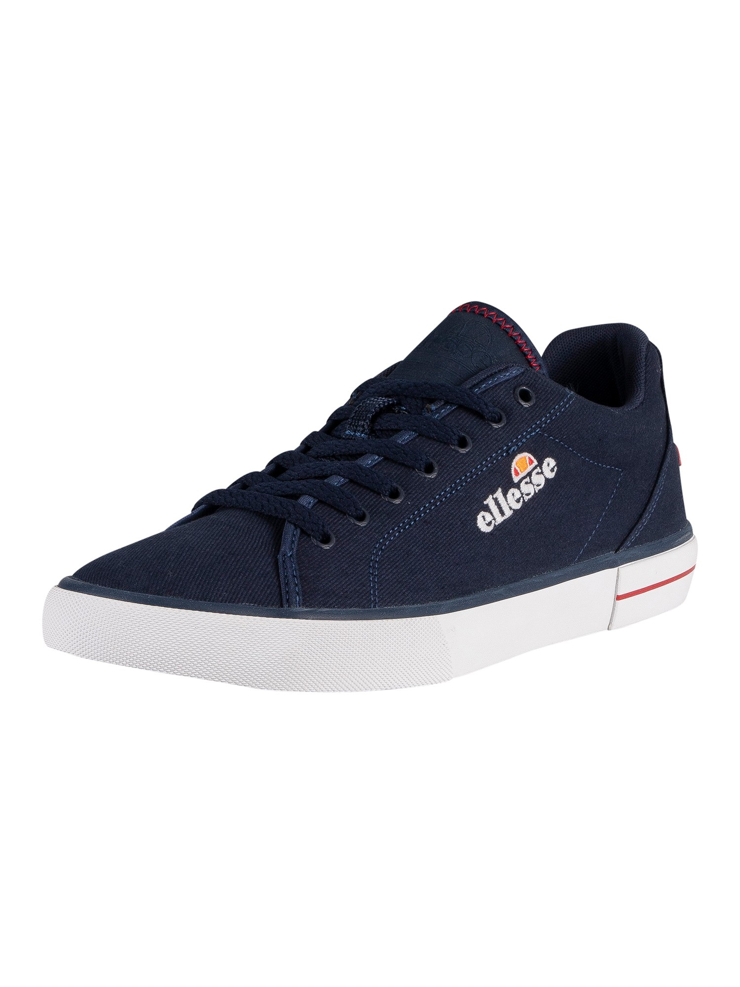 Ellesse Taggia Text Canvas Trainers - Dark Blue/Red/White