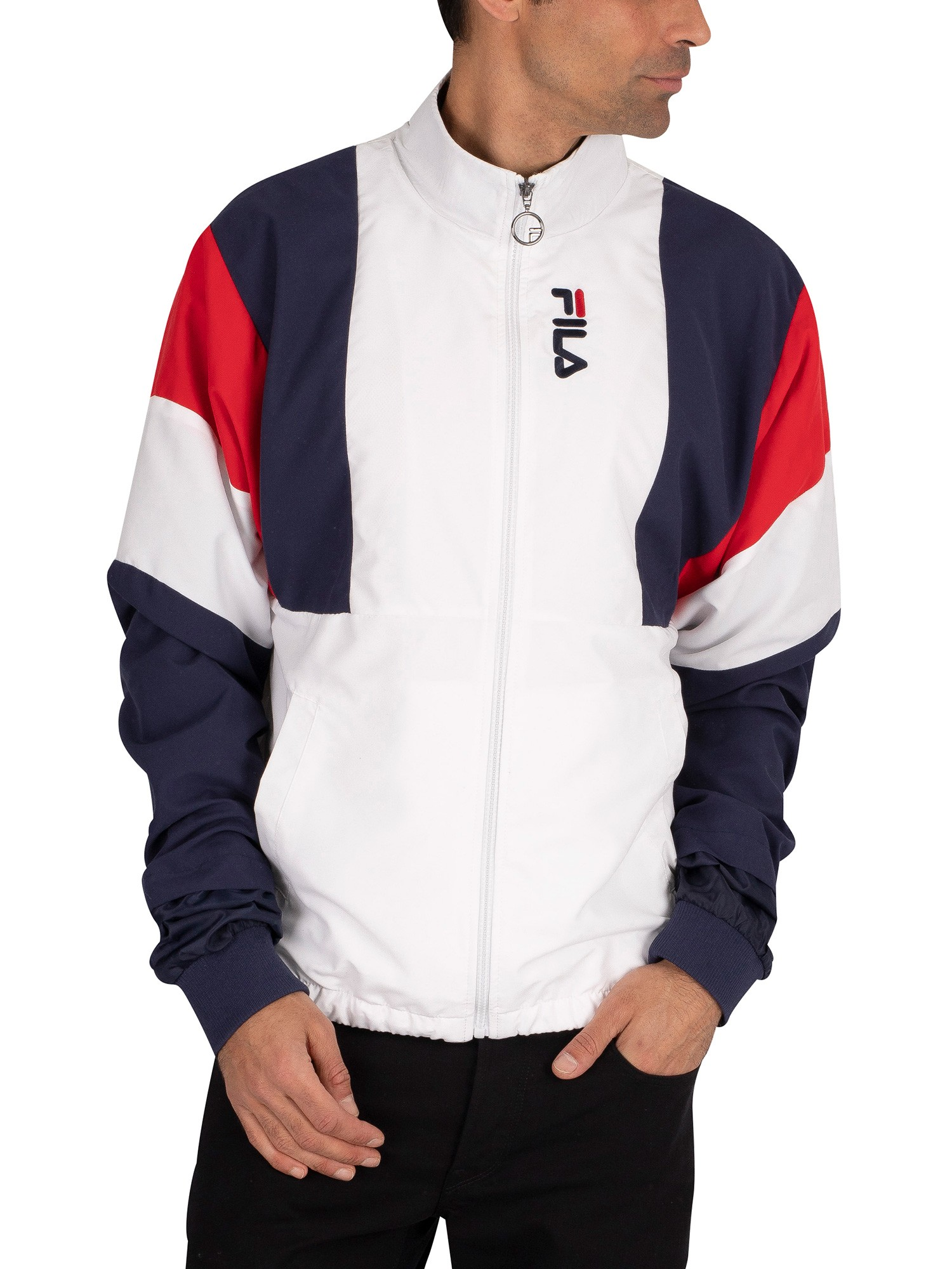 Fila Hambly Cut And Sew Stripe Track Jacket - White/Peacoat/Red