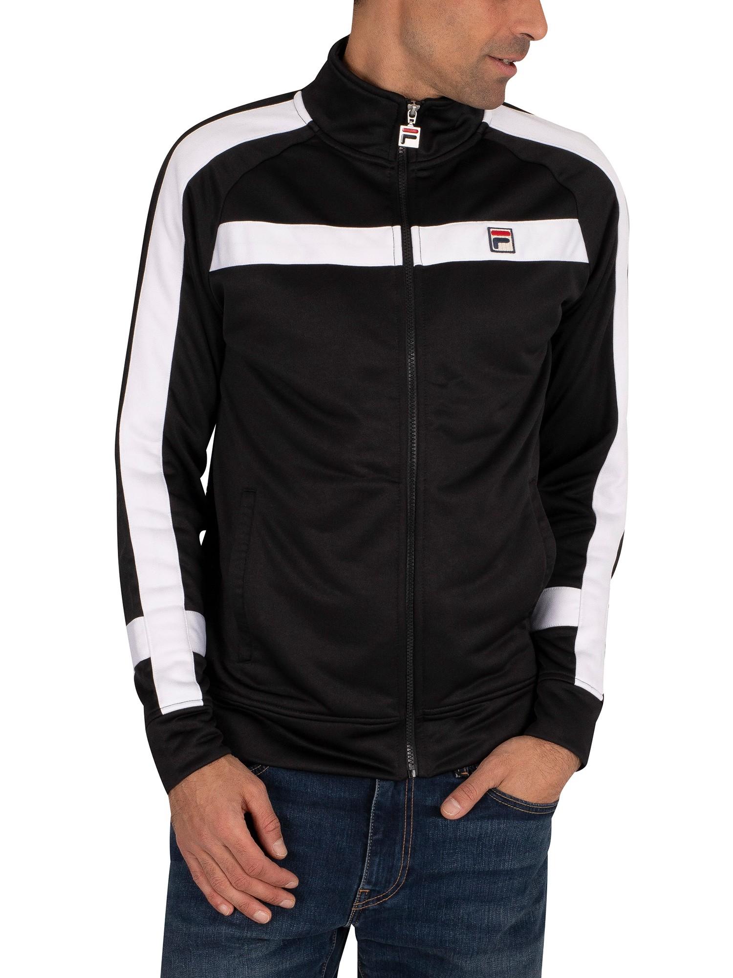 Fila Renzo Laid On Stripe Track Jacket - Black/White