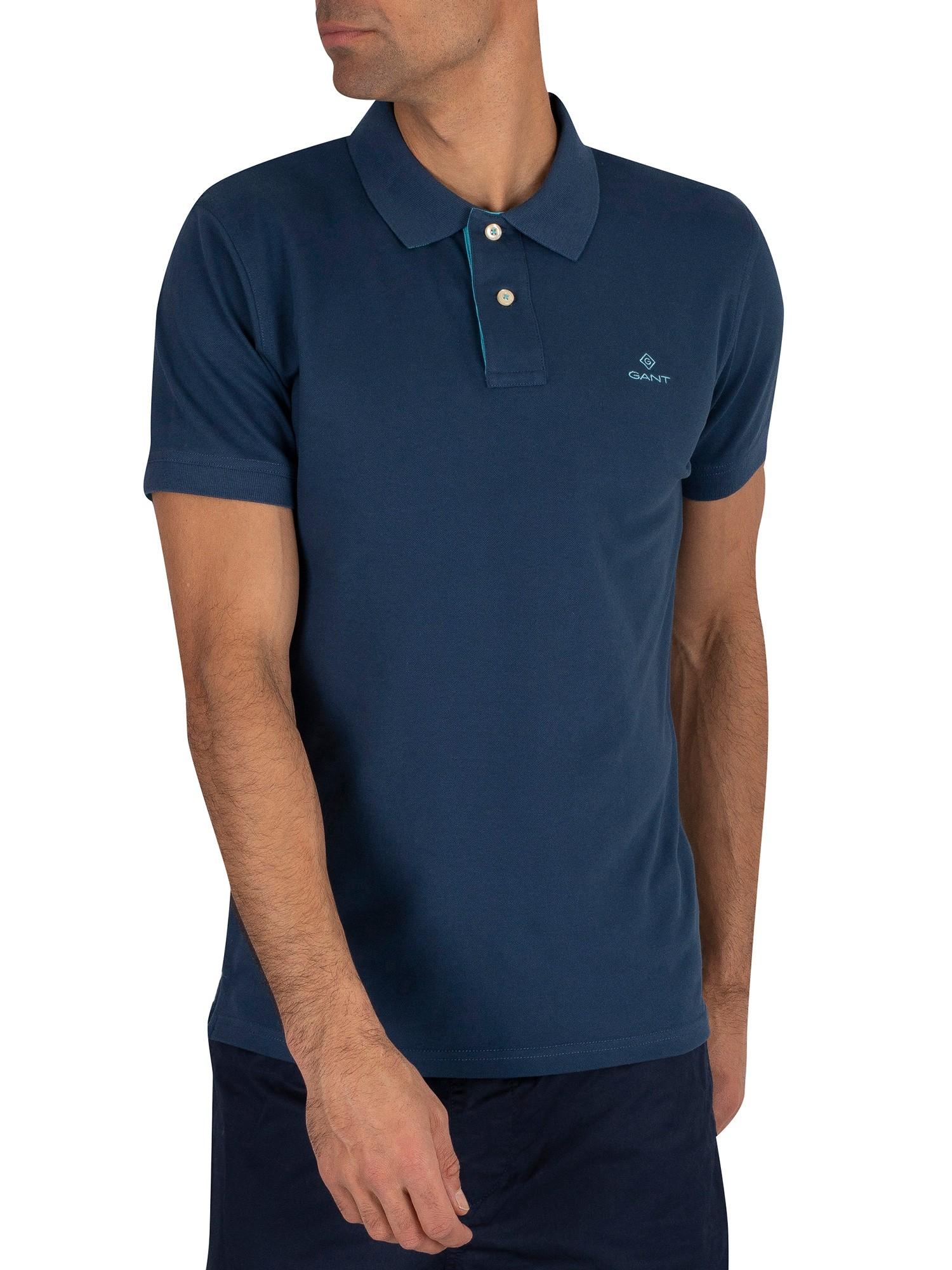 Gant Men/'s Contrast Collar Pique Rugger Poloshirt Blue