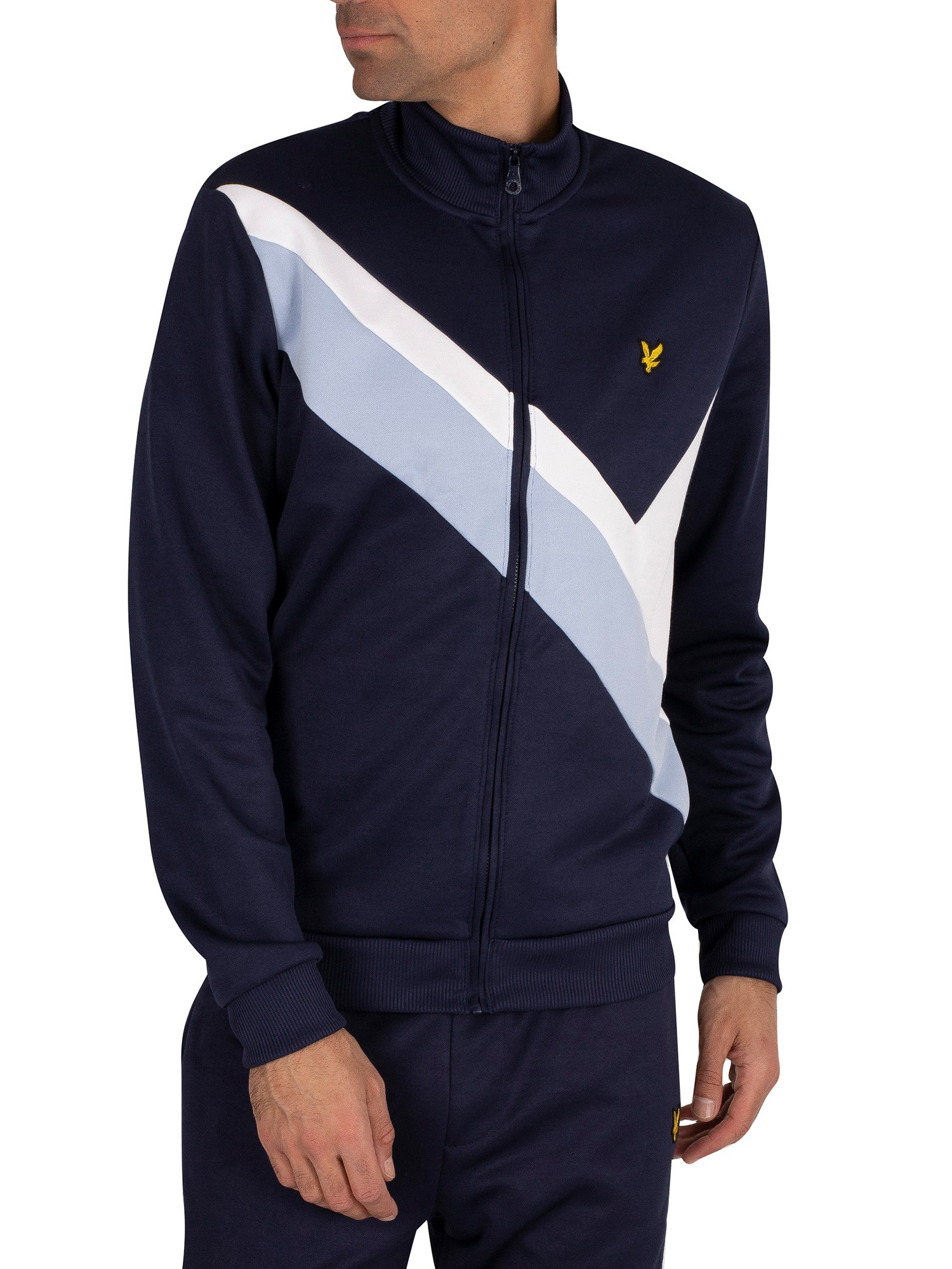 Lyle & Scott Archive Panel Funnel Neck Track Top - Navy