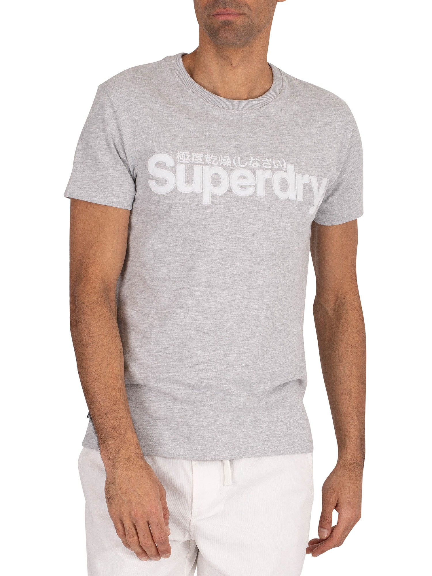 Superdry Core Faux Suede T-Shirt - Collective Light Marl