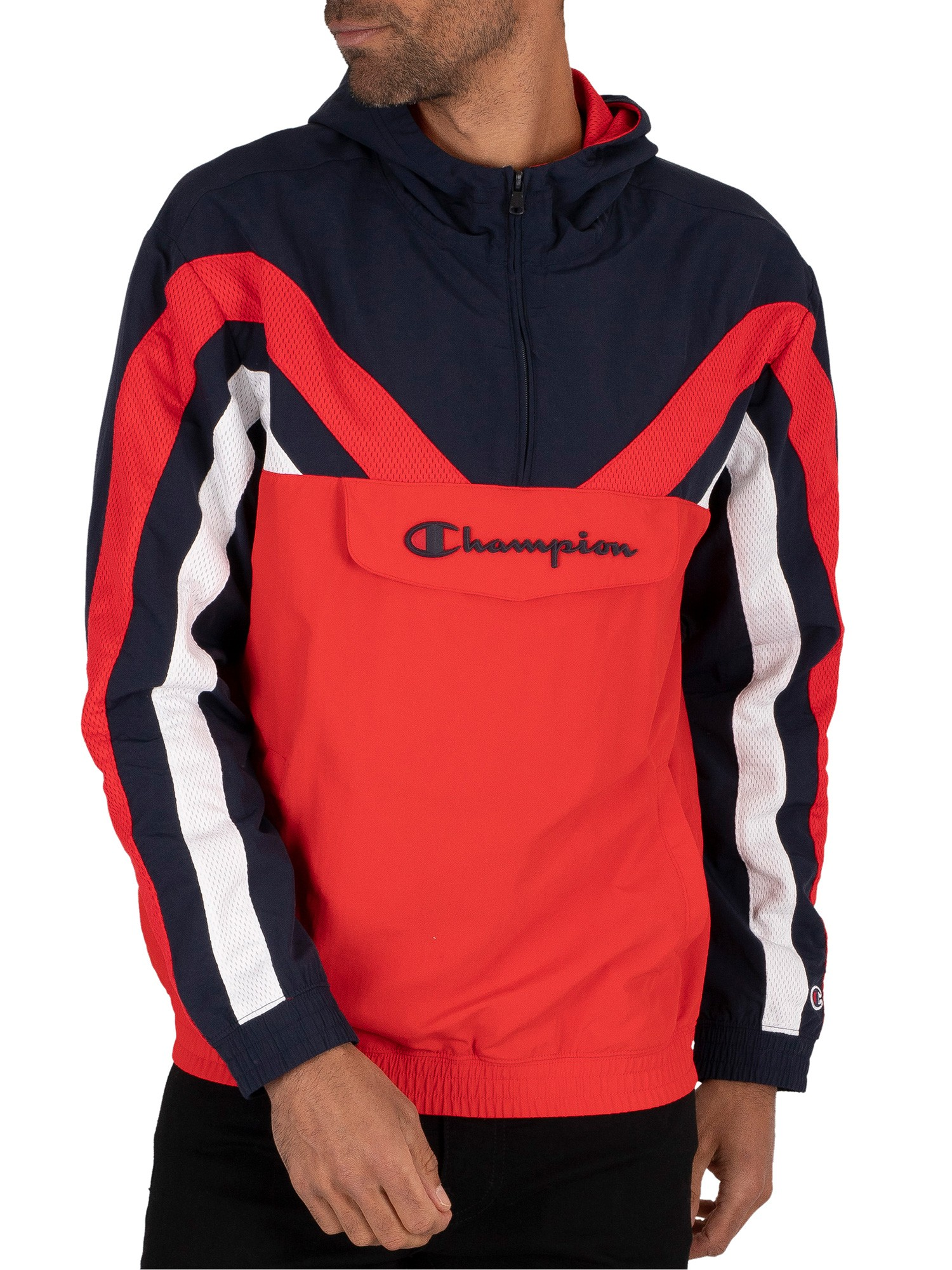 Champion Half Zip Sweatshirt - Navy/Red