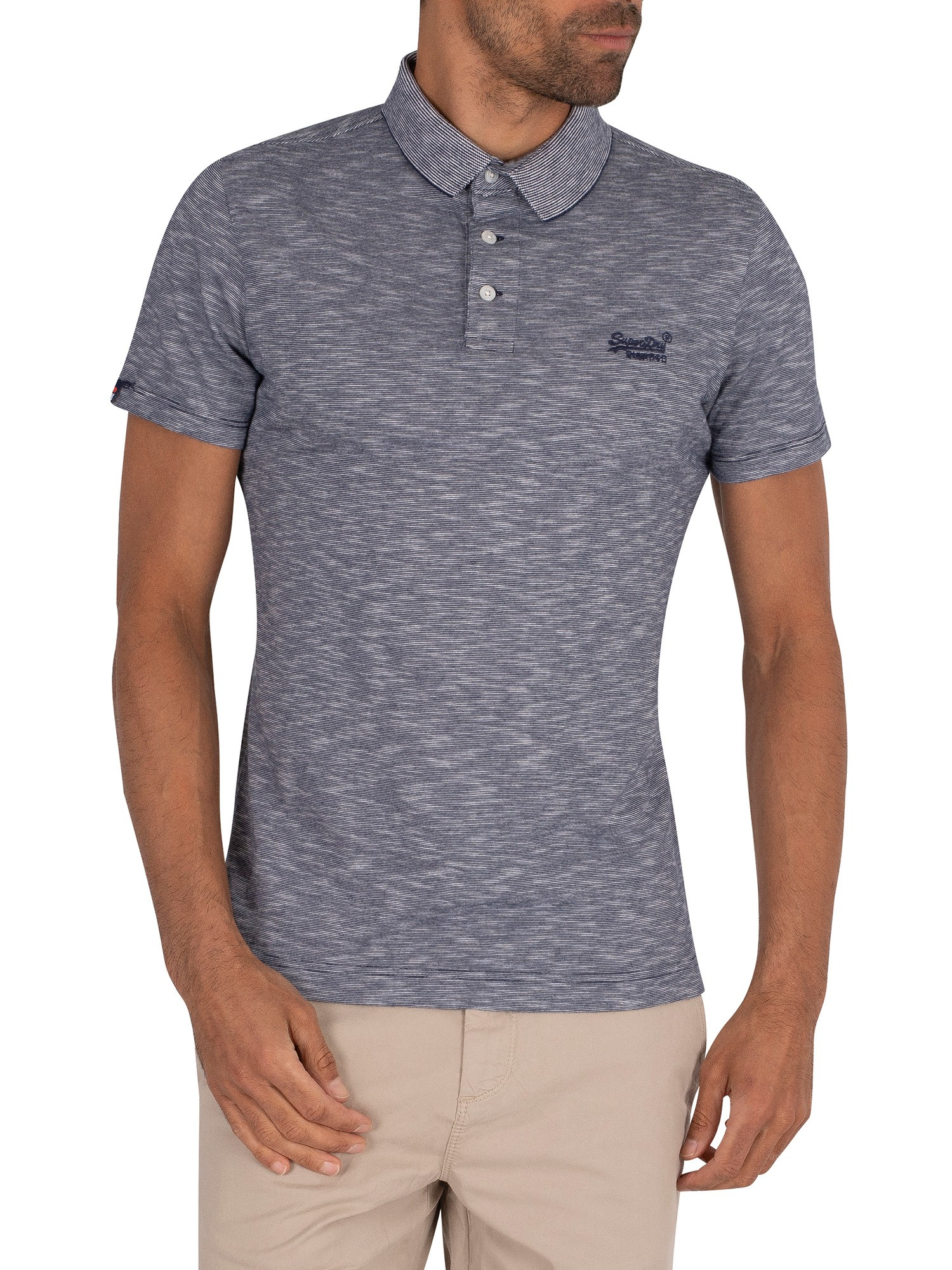 Superdry Orange Label Jersey Polo Shirt - Navy Feeder