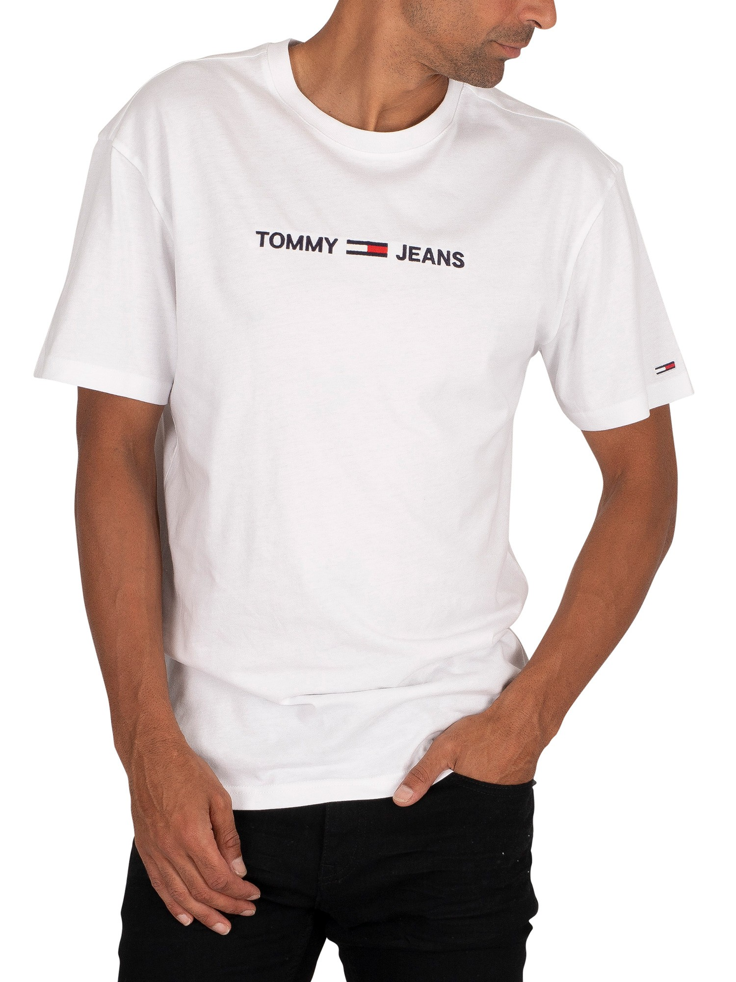 White Tommy Jeans Mens Chest Logo T-Shirt