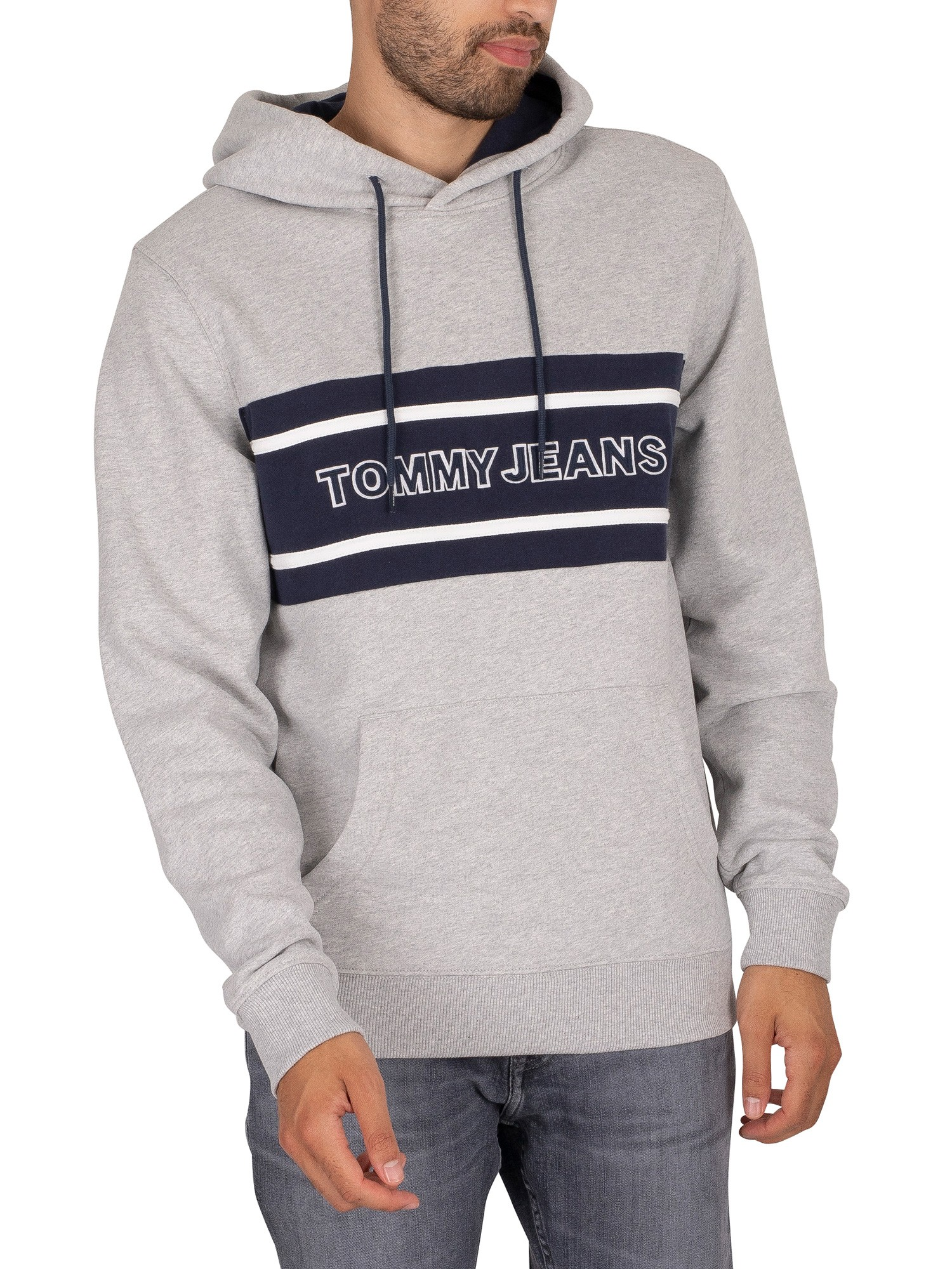 Pieced Band Logo Pullover Hoodie